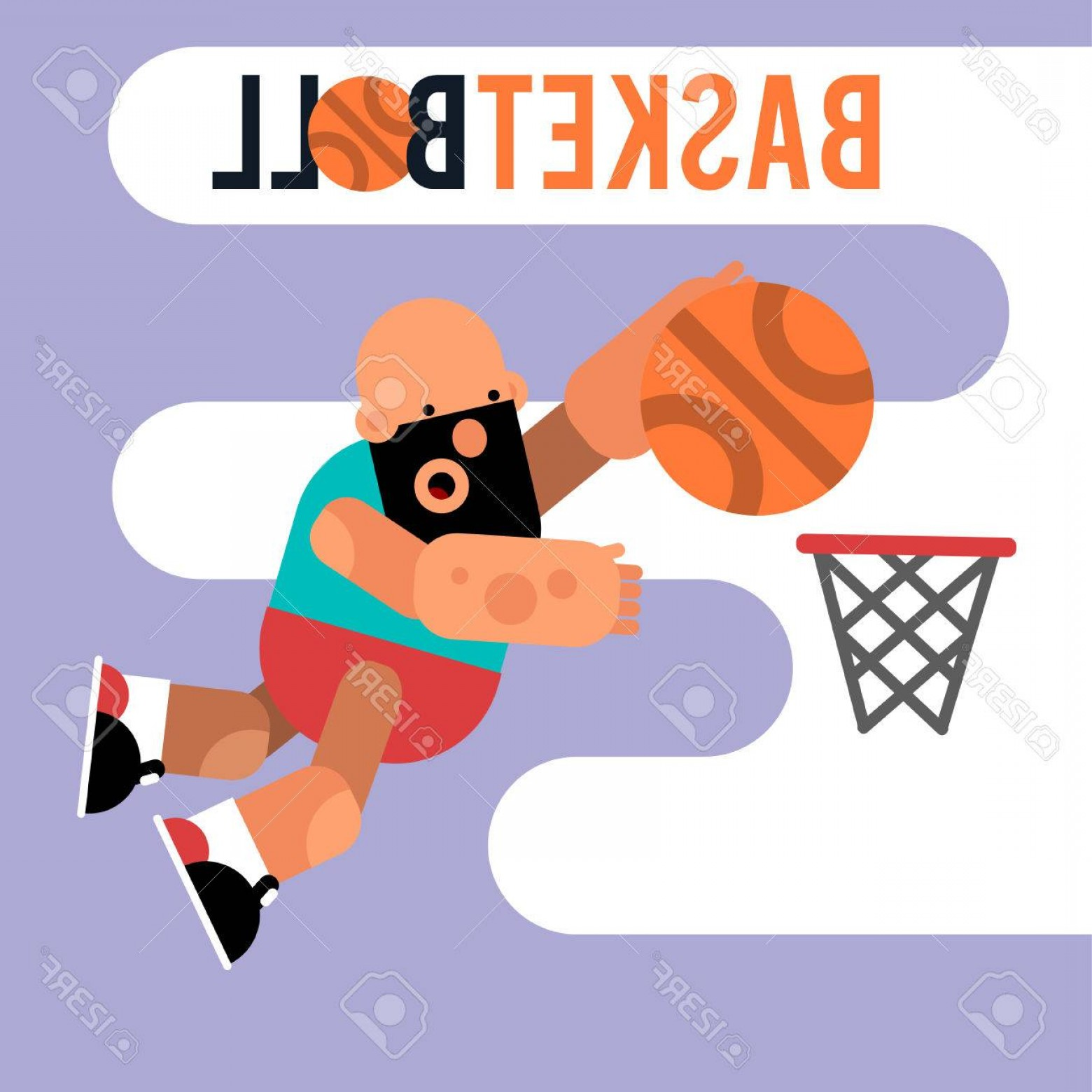 Motion Basketball Vector: Photostock Vector Cartoon Basketball Player Jumping With A Ball Vector Illustration Of Game Character For Motion Desig