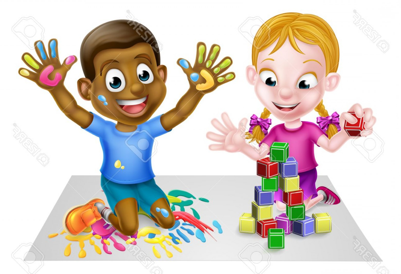 Vector Block Play: Photostock Vector Cartoon Boy And Girl Playing With Toys With Paints And Toy Building Blocks