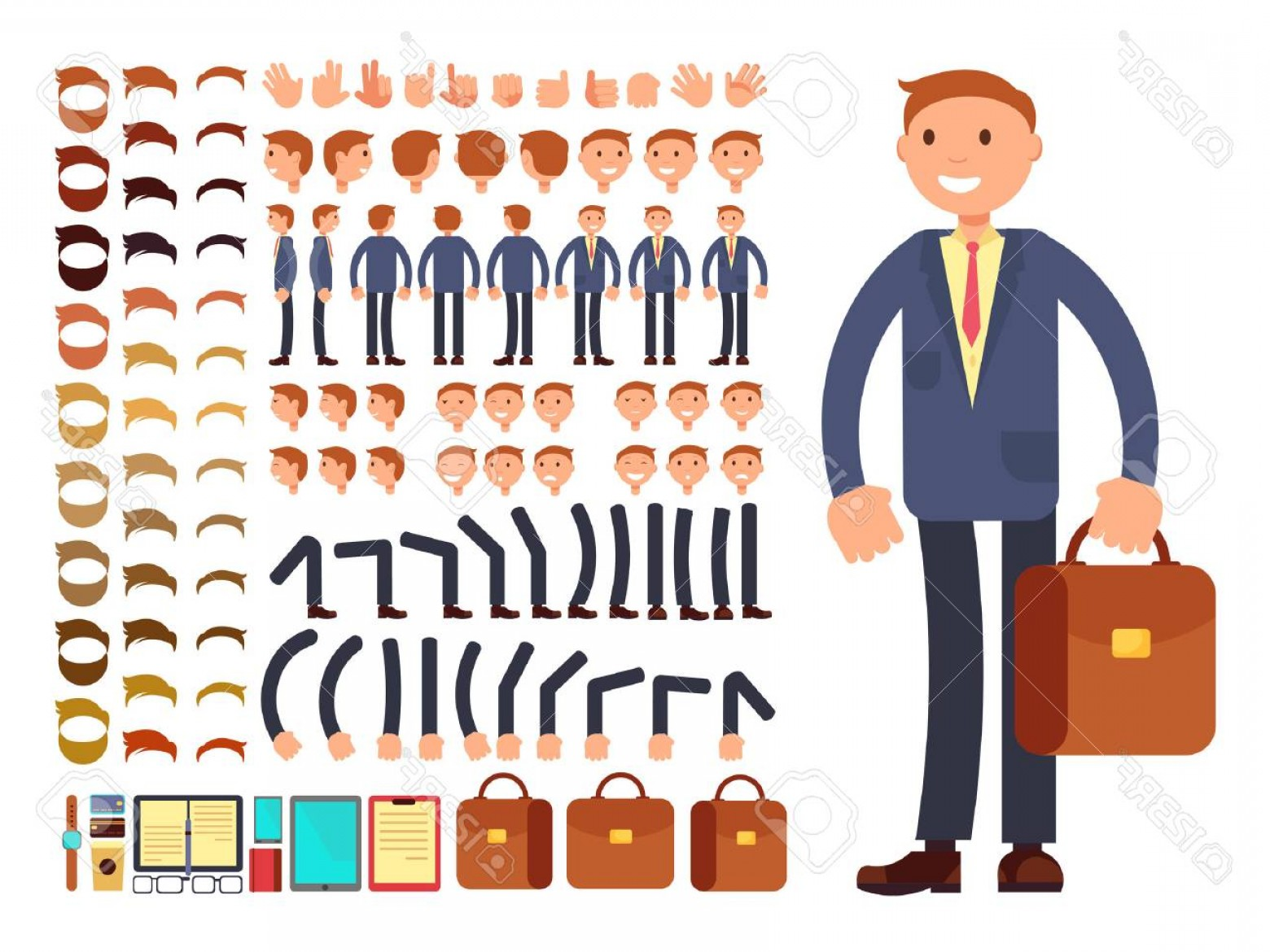 Vector Constructor: Photostock Vector Cartoon Businessman Customizable Vector Character Set Constructor Of Different Poses Character Busin