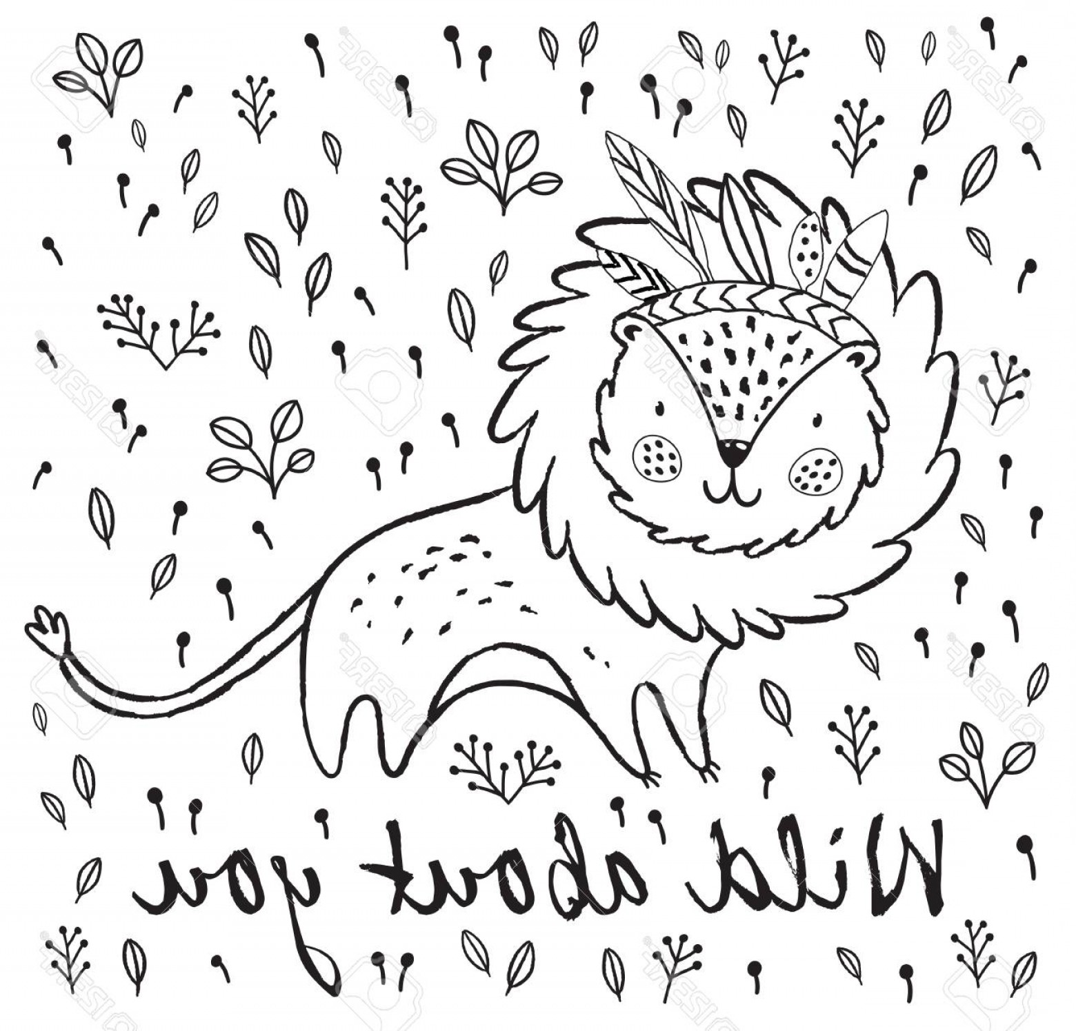 Funny Black And White Vector: Photostock Vector Cartoon Character Fun Lion Black And White Vector Illustration Funny Cartoon Lion Vector Print With