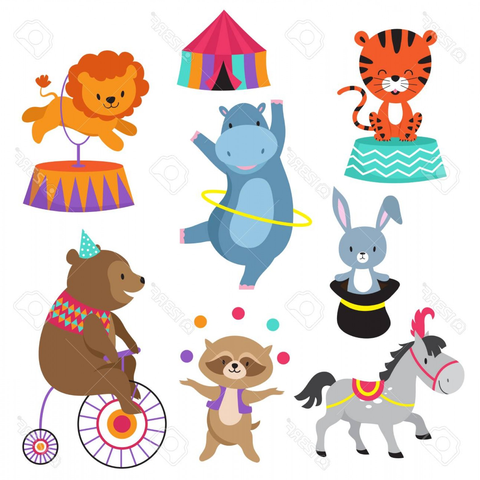 Circus Animals Vector Graphic: Photostock Vector Cartoon Circus Animals For Child Birthday Card Vector Animal In Circus Happy Elephant And Lion Carni