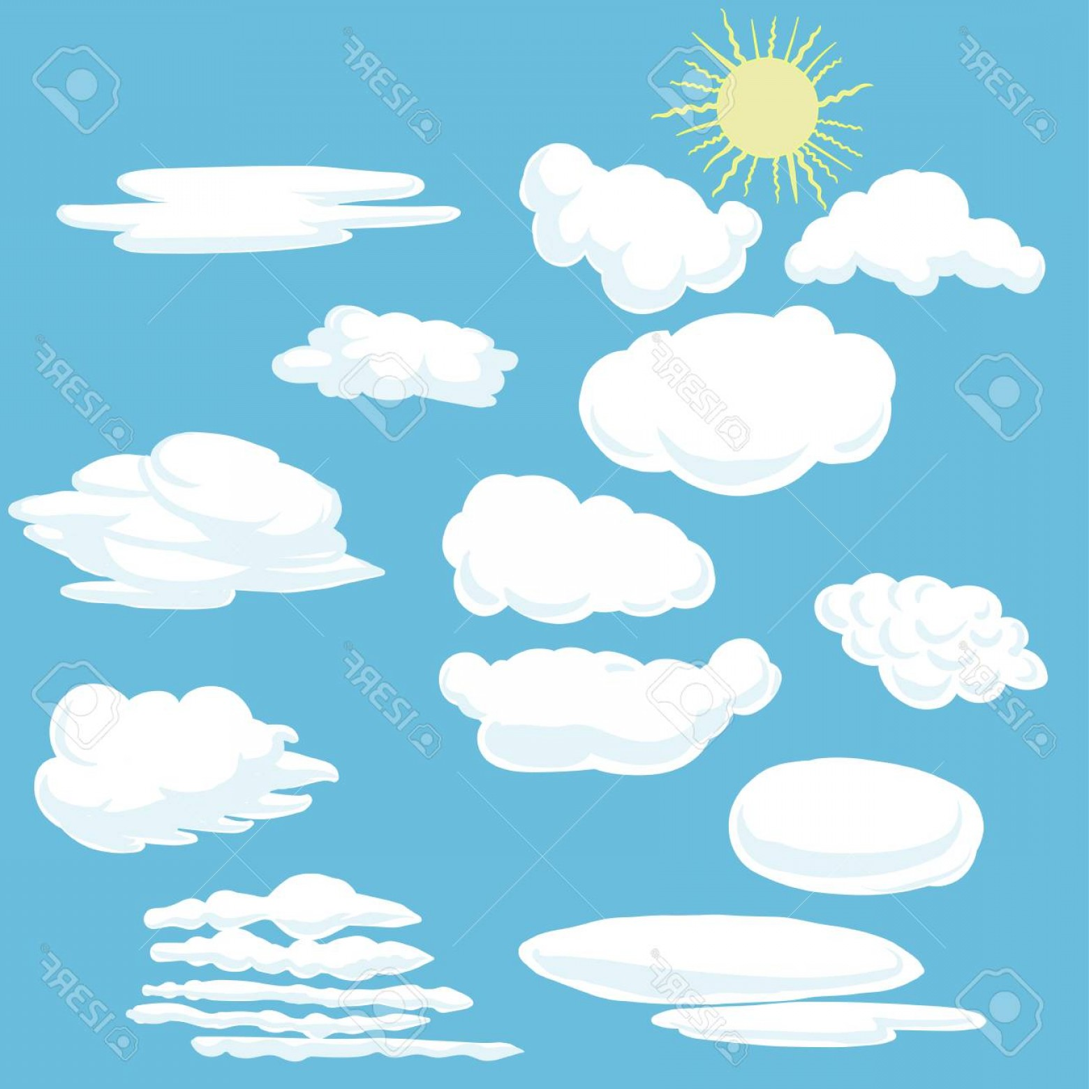 Blue Background Vector Cartoon Sun: Photostock Vector Cartoon Clouds And Sun Vector Illustration On Blue Background