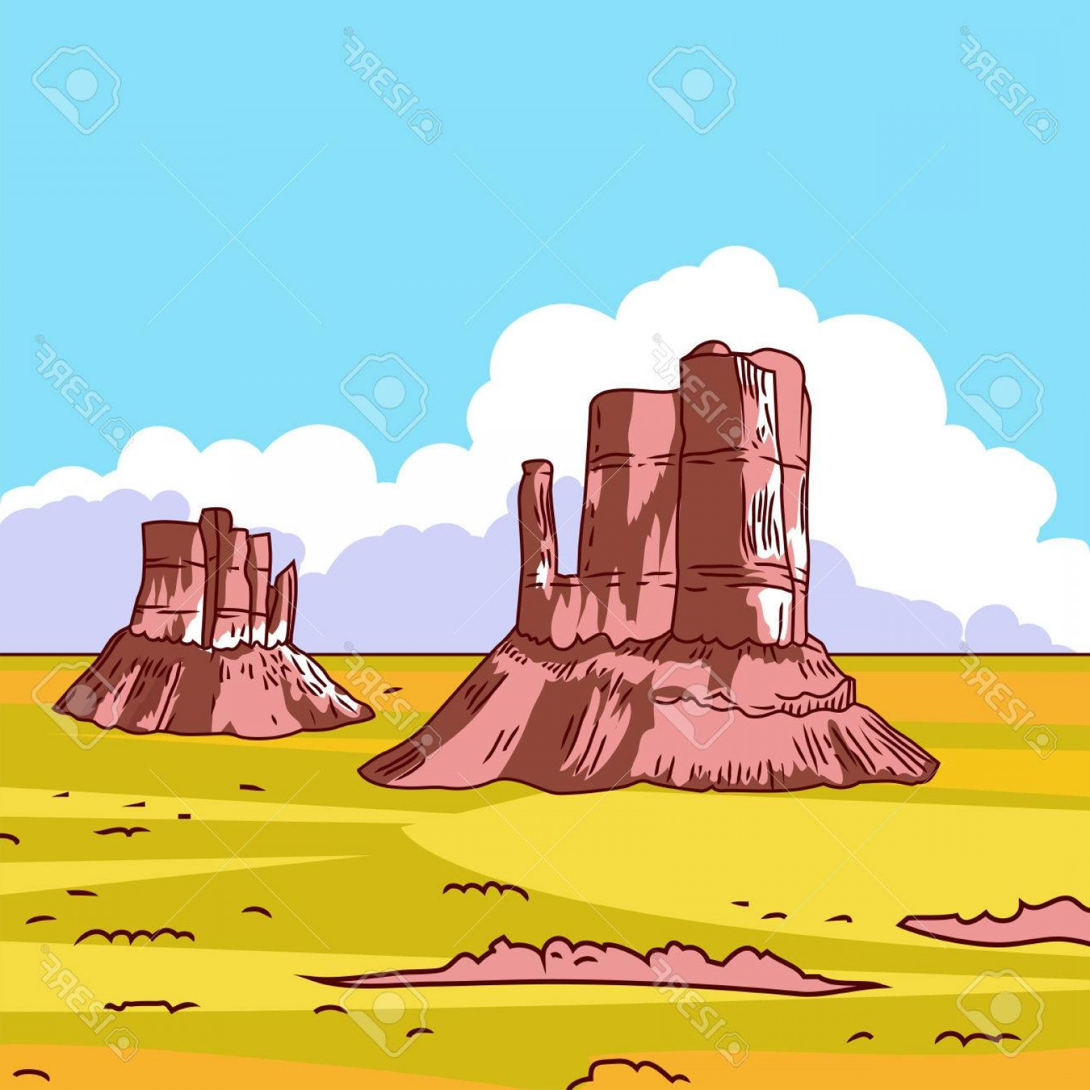 Vector Stone Landscaping: Photostock Vector Cartoon Colorful Desert Landscape With Stones Prairie Landscape Vector Illustration