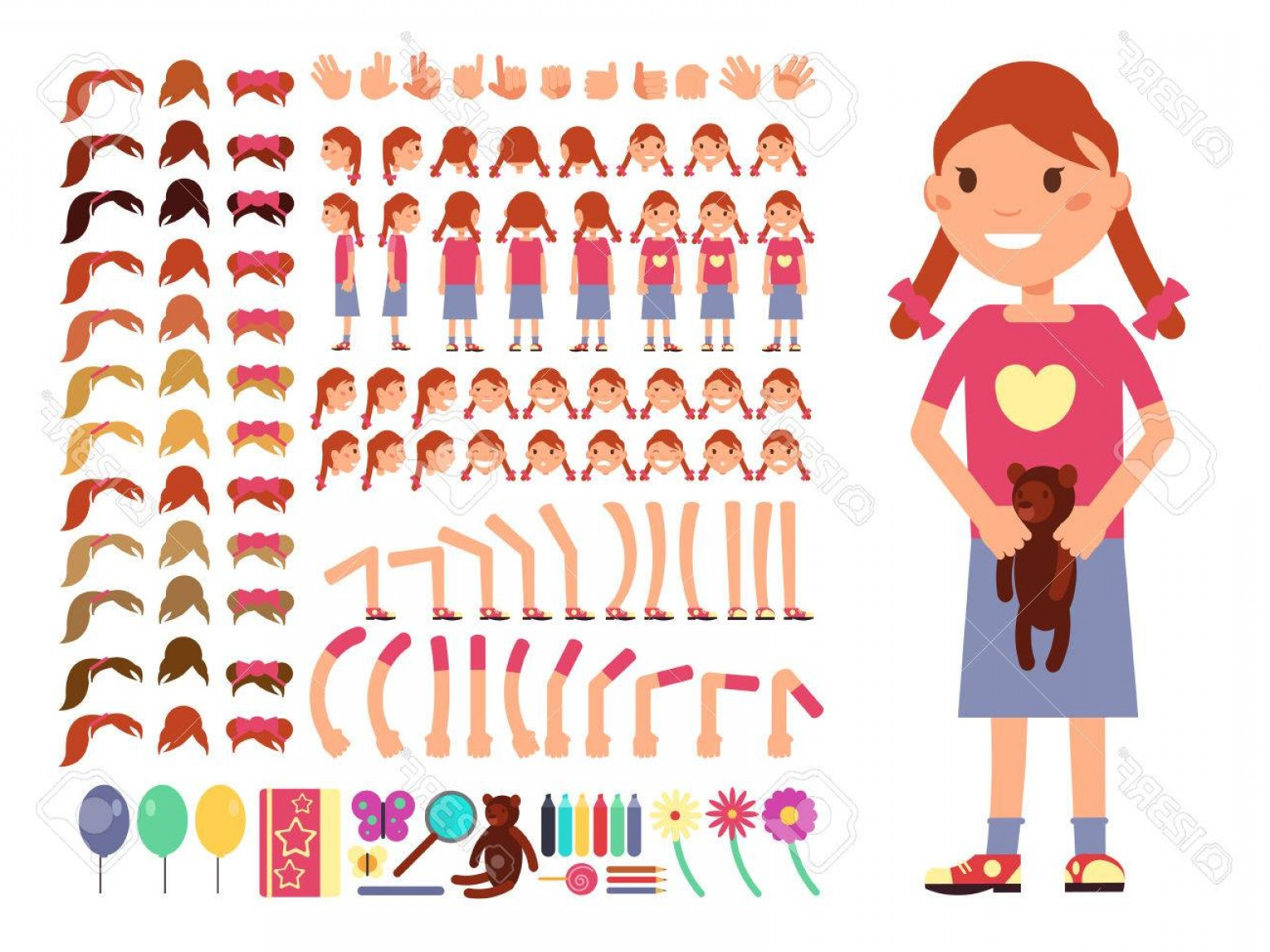 Vector Constructor: Photostock Vector Cartoon Cute Little Girl Character Vector Creation Constructor With Different Emotions And Body Part