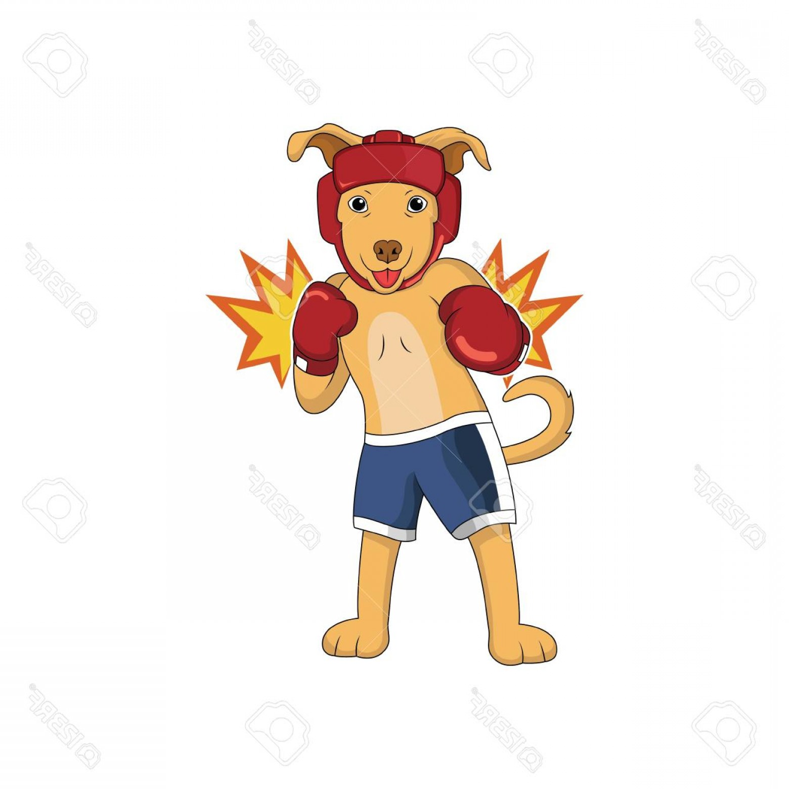 Bpxer Vector Art Happy Dog: Photostock Vector Cartoon Dog Is Doing Boxing Sport With Happy Face