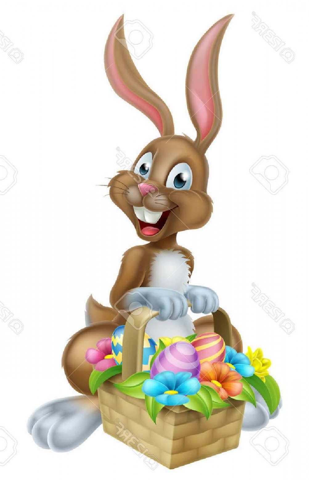 Chocolate Bunny Vector: Photostock Vector Cartoon Easter Bunny Rabbit Holding An Easter Eggs Basket Could Be On A Chocolate Easter Egg Hunt
