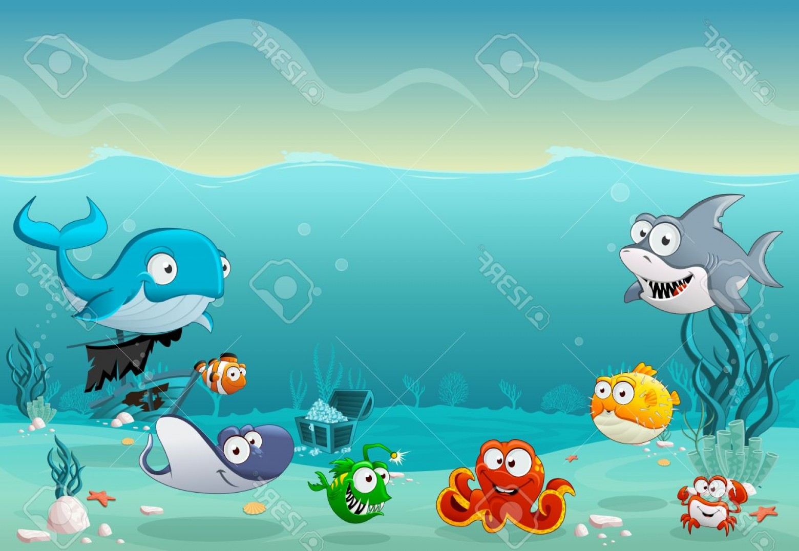 Underwater Sea Vector Art: Photostock Vector Cartoon Fish Under The Sea Underwater World With Corals