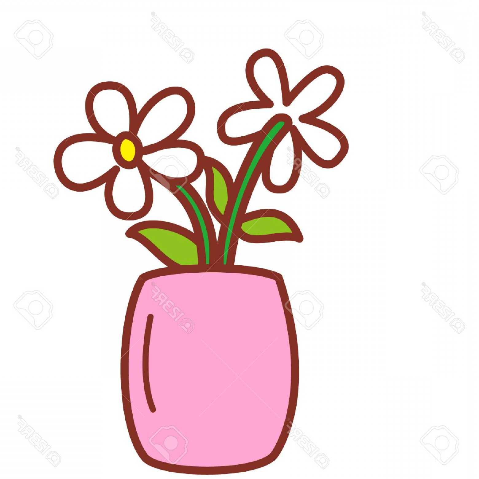 Photostock Vector Cartoon Flowers In Vase Createmepink
