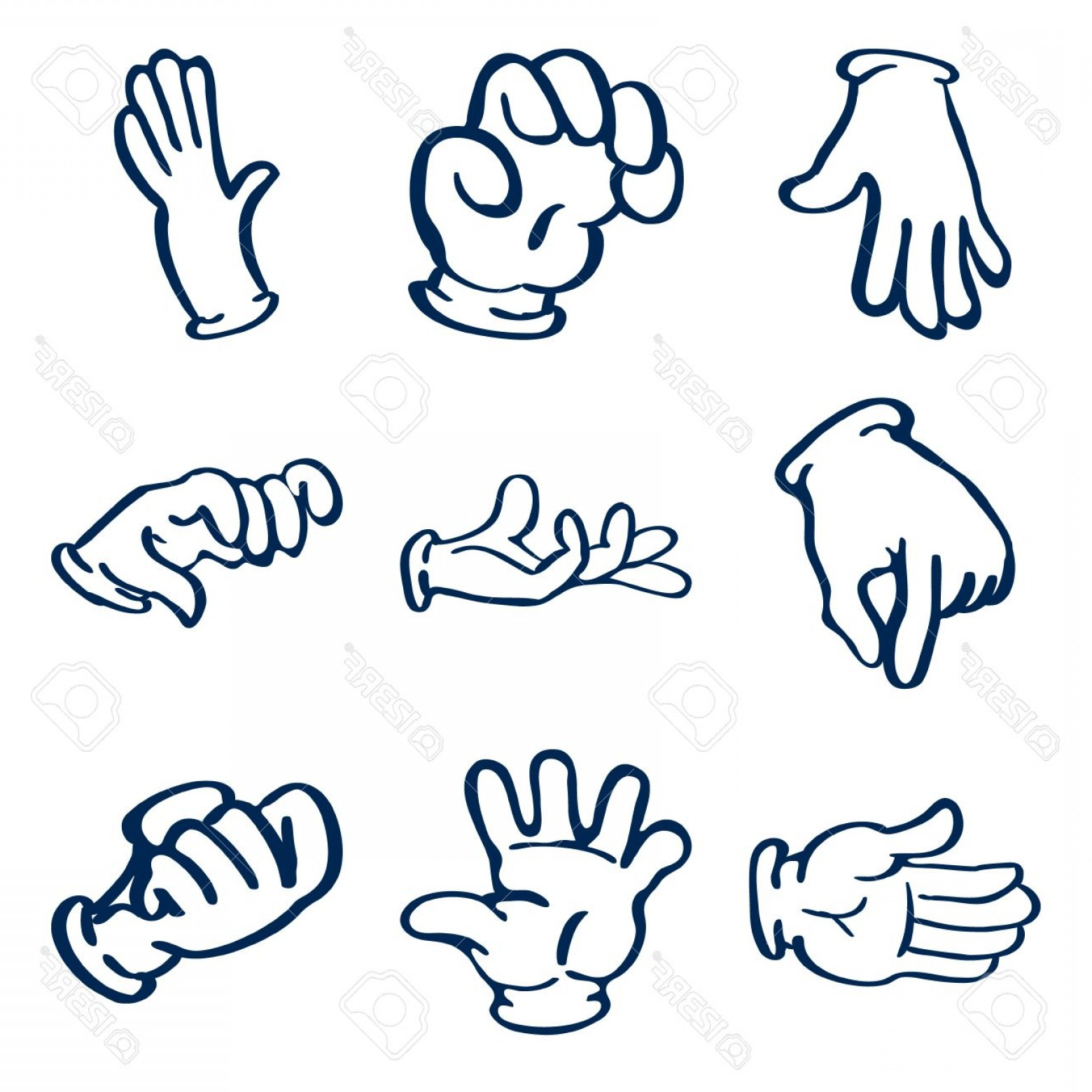 Hand Vector Clip Art: Photostock Vector Cartoon Gloved Hands Vector Clip Art Illustration