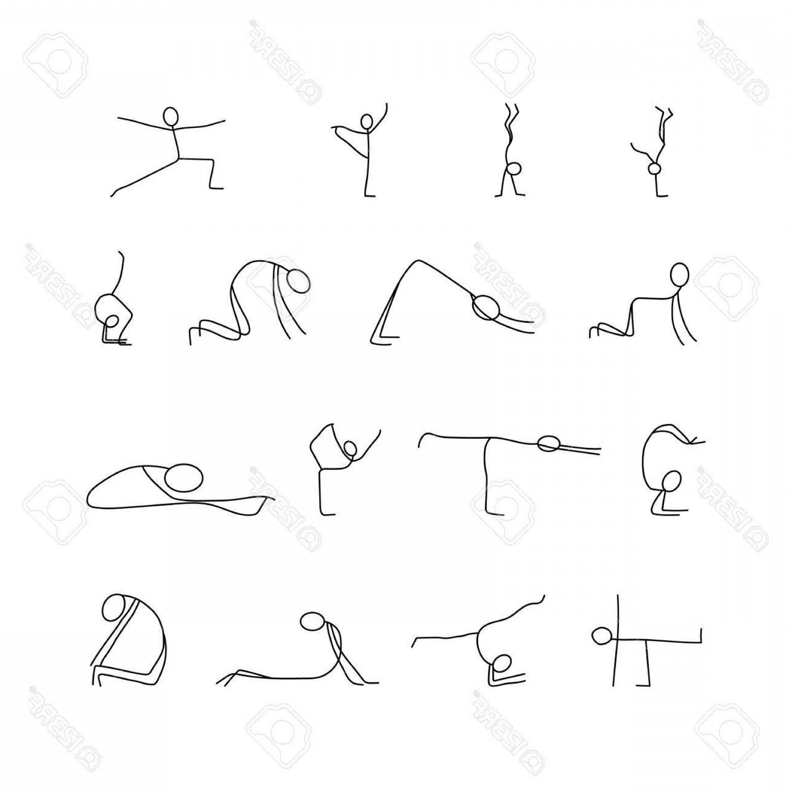 Yoga Stick Figure Vector: Photostock Vector Cartoon Icons Set Of Sketch Little People Stick Figures Doing Yoga