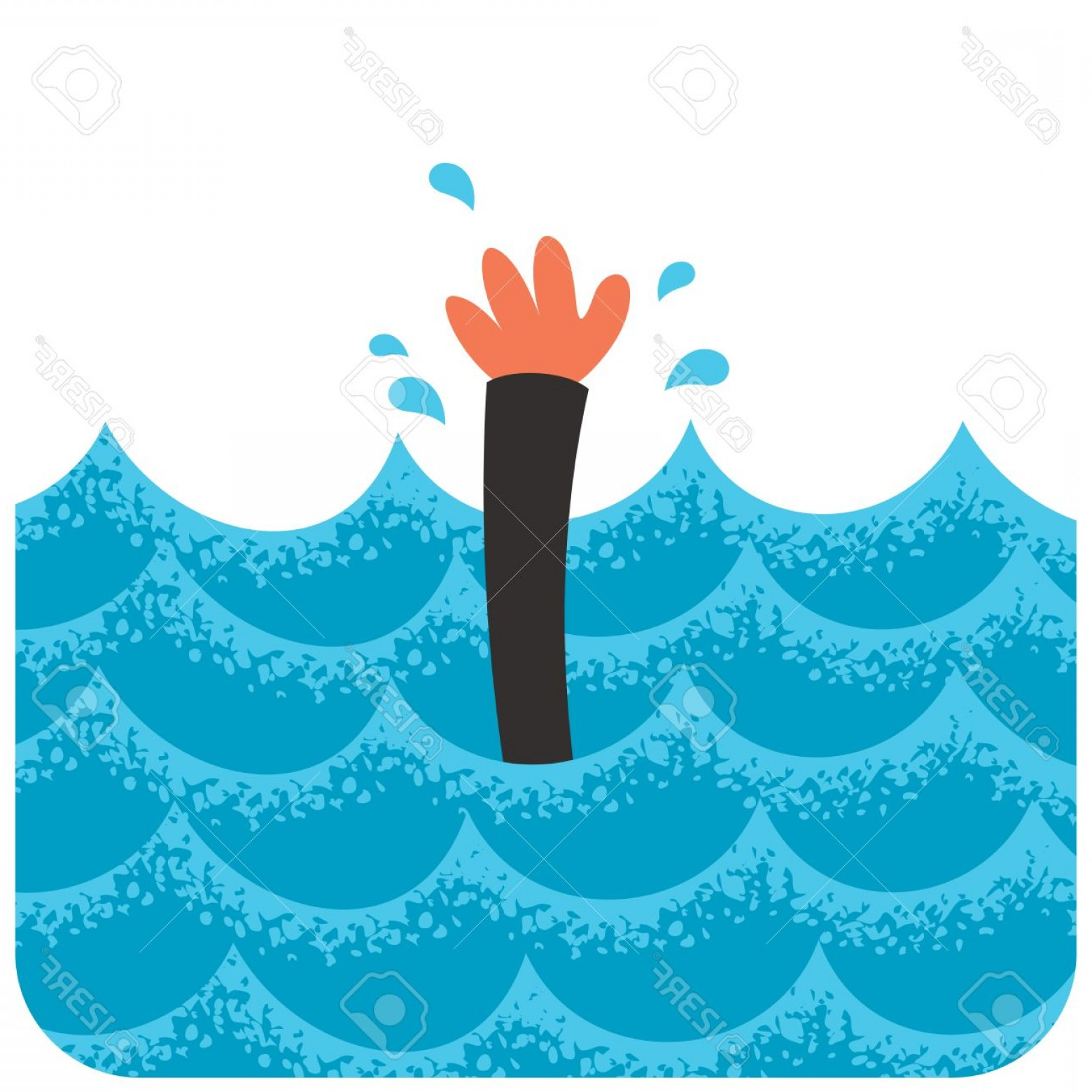 Man Drowning Vector: Photostock Vector Cartoon Illustration Of Drowning Man
