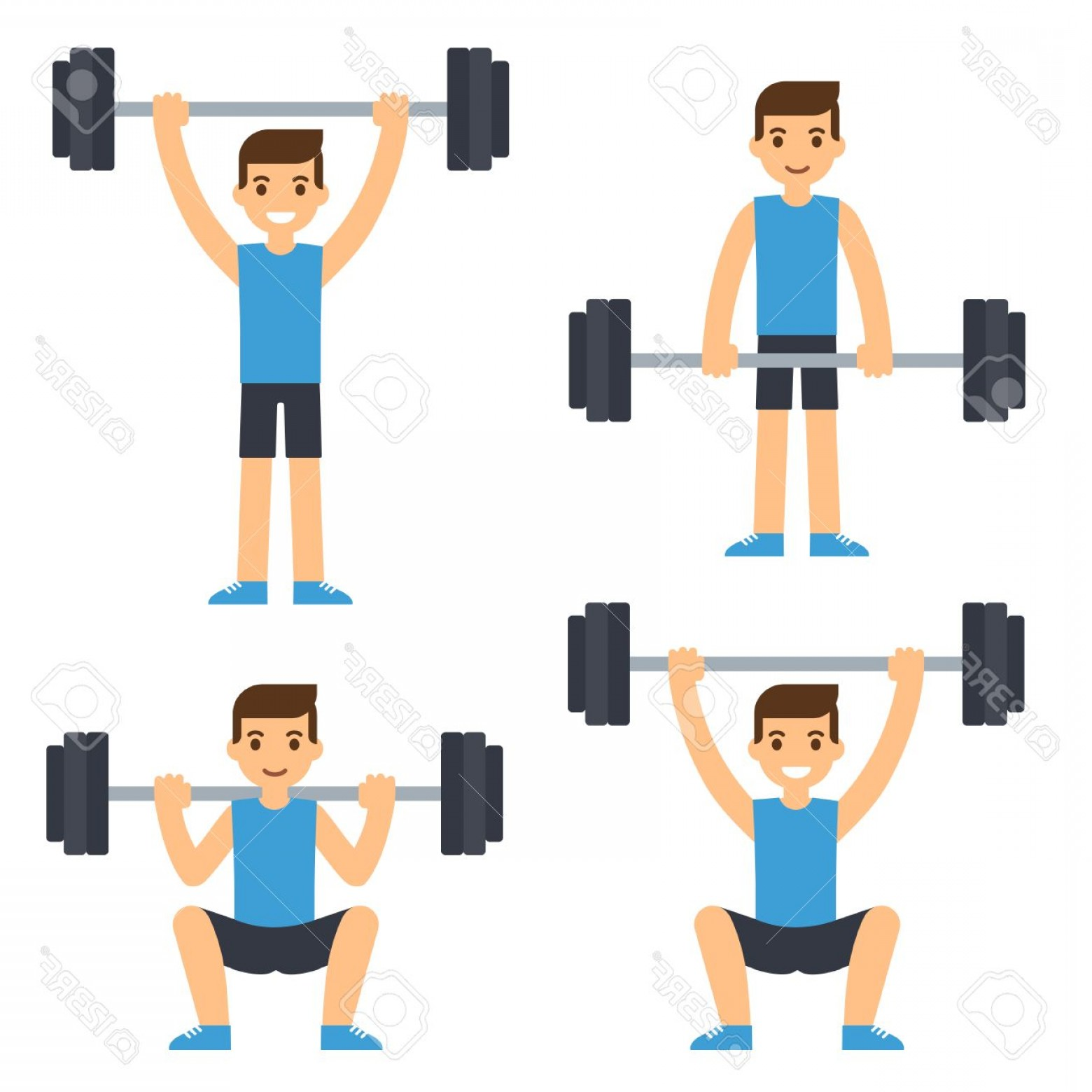 Vector Barbell Press: Photostock Vector Cartoon Man Barbell Exercises Squat Deadlift Overhead Press Weight Lifting Illustration Modern Flat
