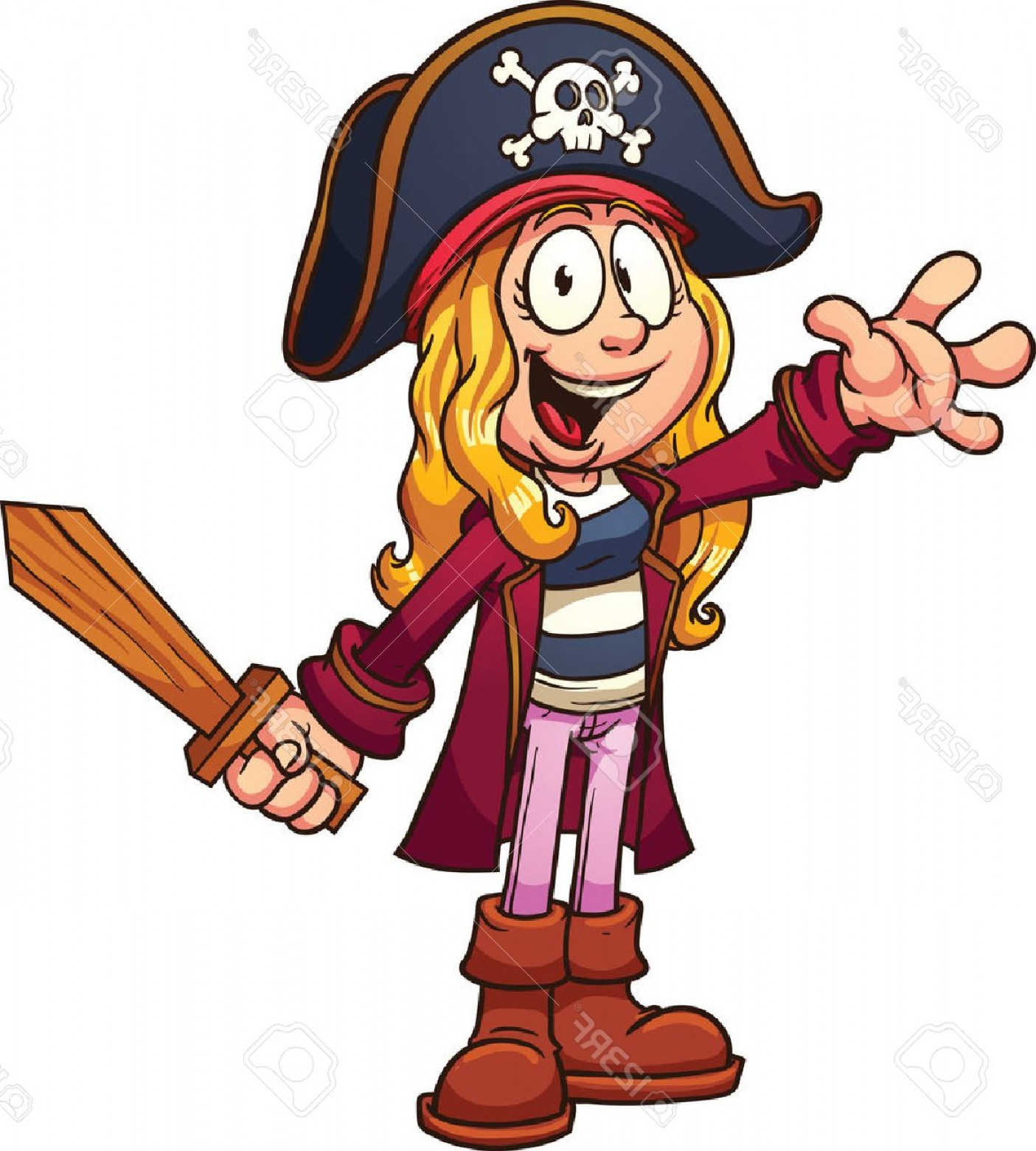 Cartoon Pirate Vector Art: Photostock Vector Cartoon Pirate Girl Clip Art Illustration With Simple Gradients All In A Single Layer