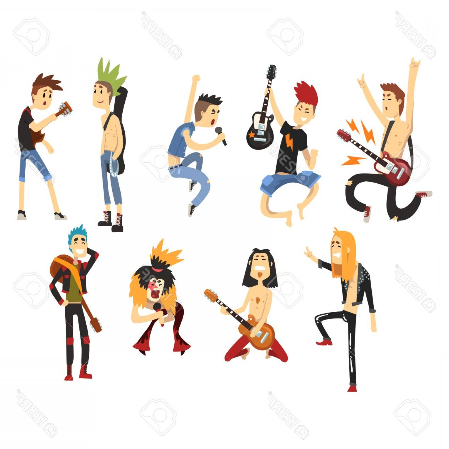 Singers Vector Art: Photostock Vector Cartoon Rock Artists Characters Singing And Playing On Musical Instruments Guys With Colorful Haircu