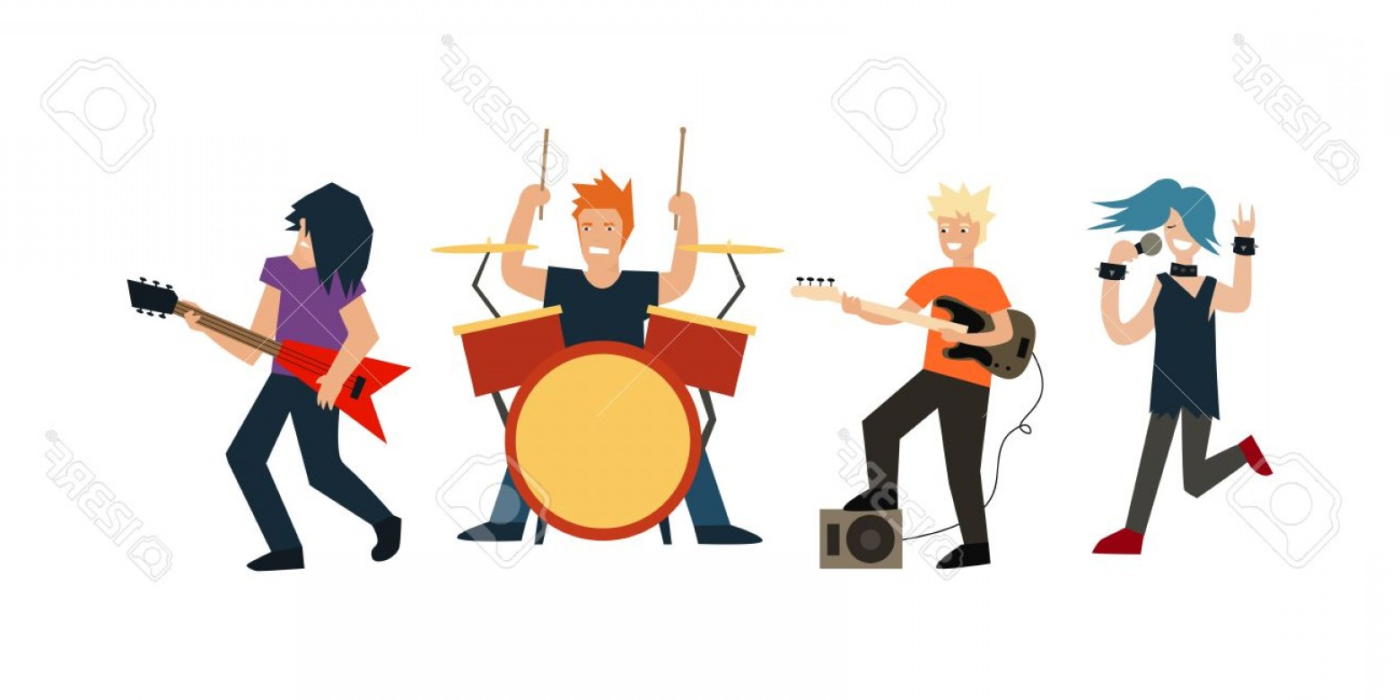 Musician Person Vector: Photostock Vector Cartoon Rock Band Musicians And Singer Flat Design Style Vector Illustration