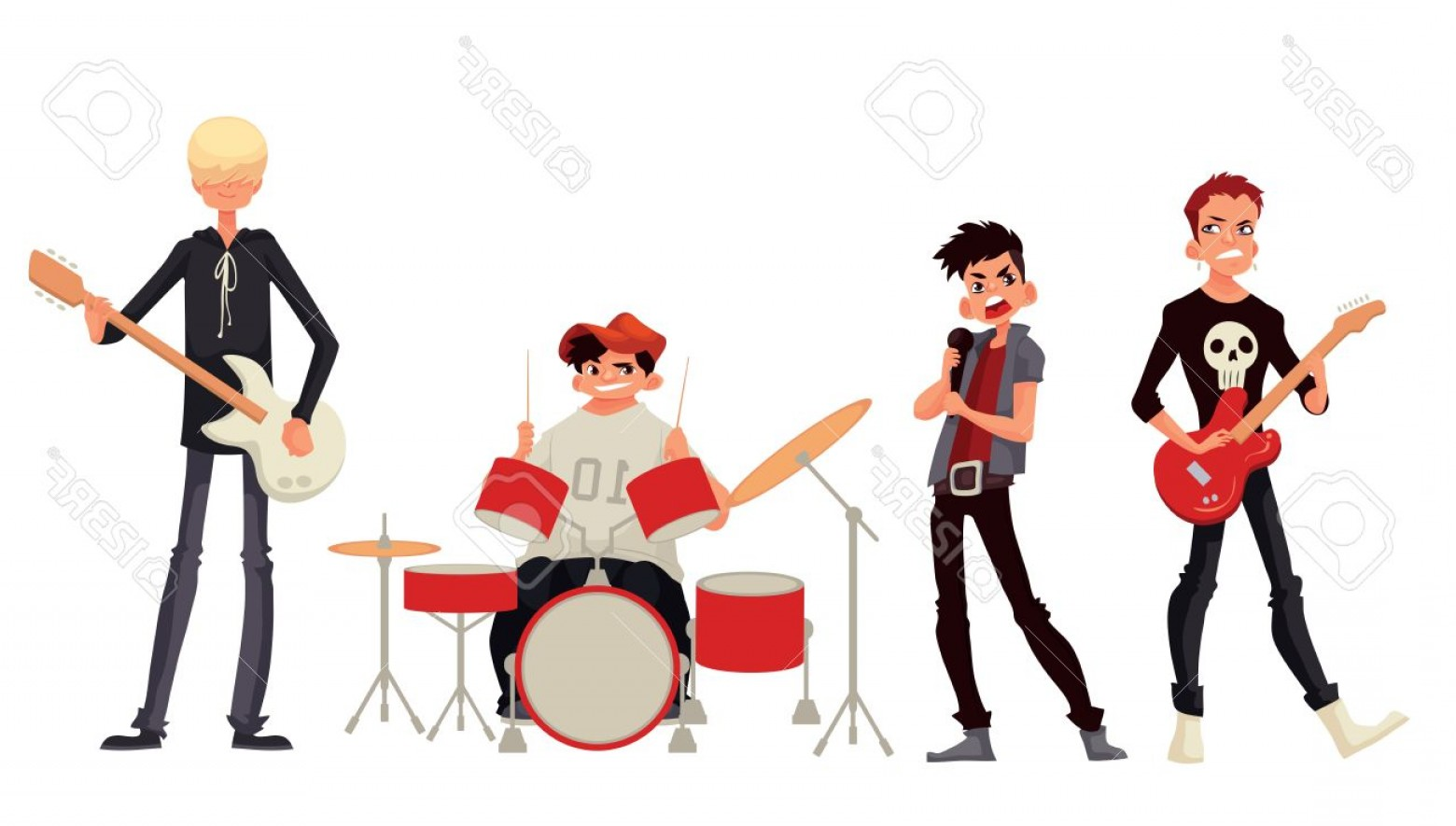 Musician Person Vector: Photostock Vector Cartoon Rock Group Musicians Vector Illustration Isolated On White Background Rock Star Singer Guita