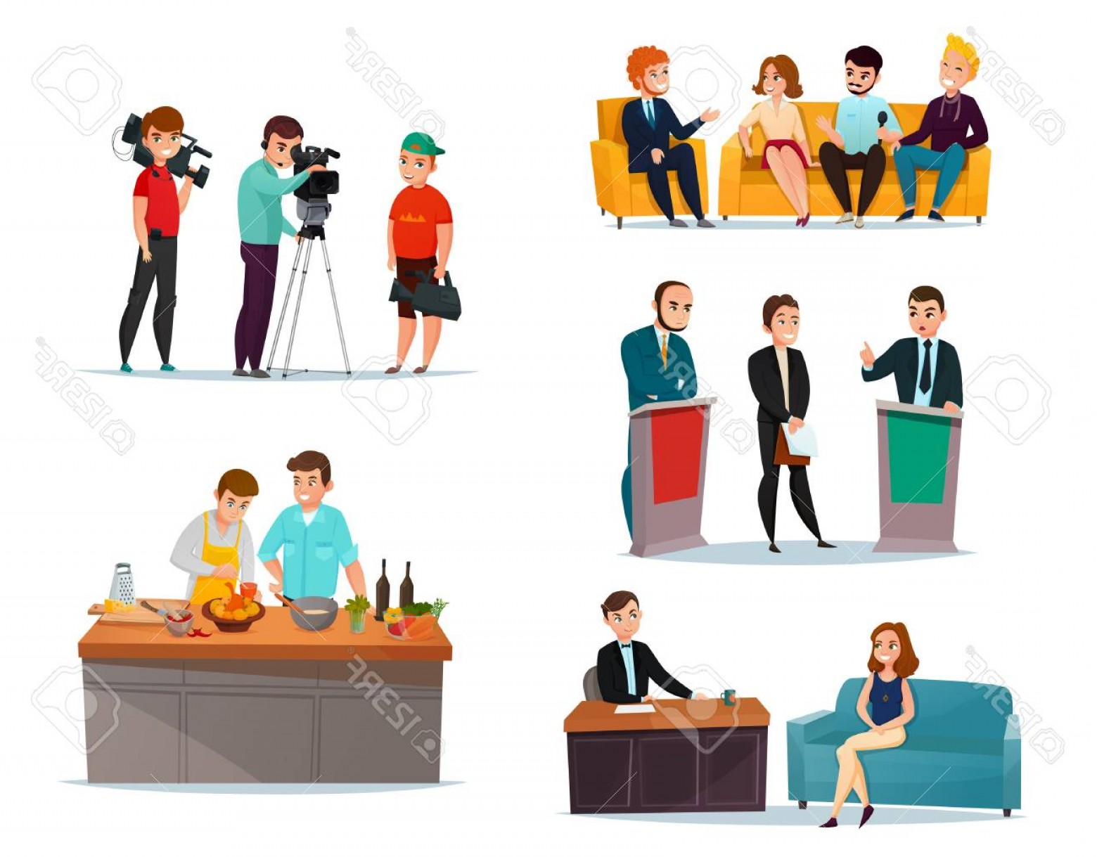 Talk Show Vector: Photostock Vector Cartoon Set With Participants In Various Talk Show Isolated On White Background Vector Illustration