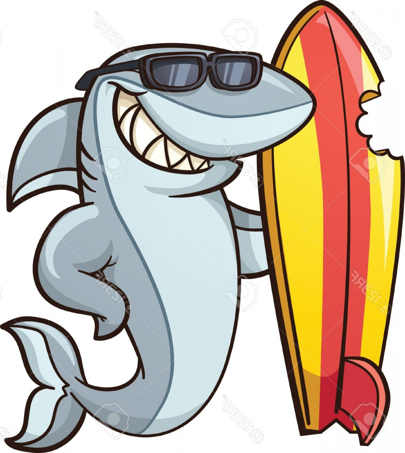 Vector Cartoon Free Clip Art: Photostock Vector Cartoon Shark With A Bitten Surfboard Vector Clip Art Illustration With Simple Gradients All In A Si