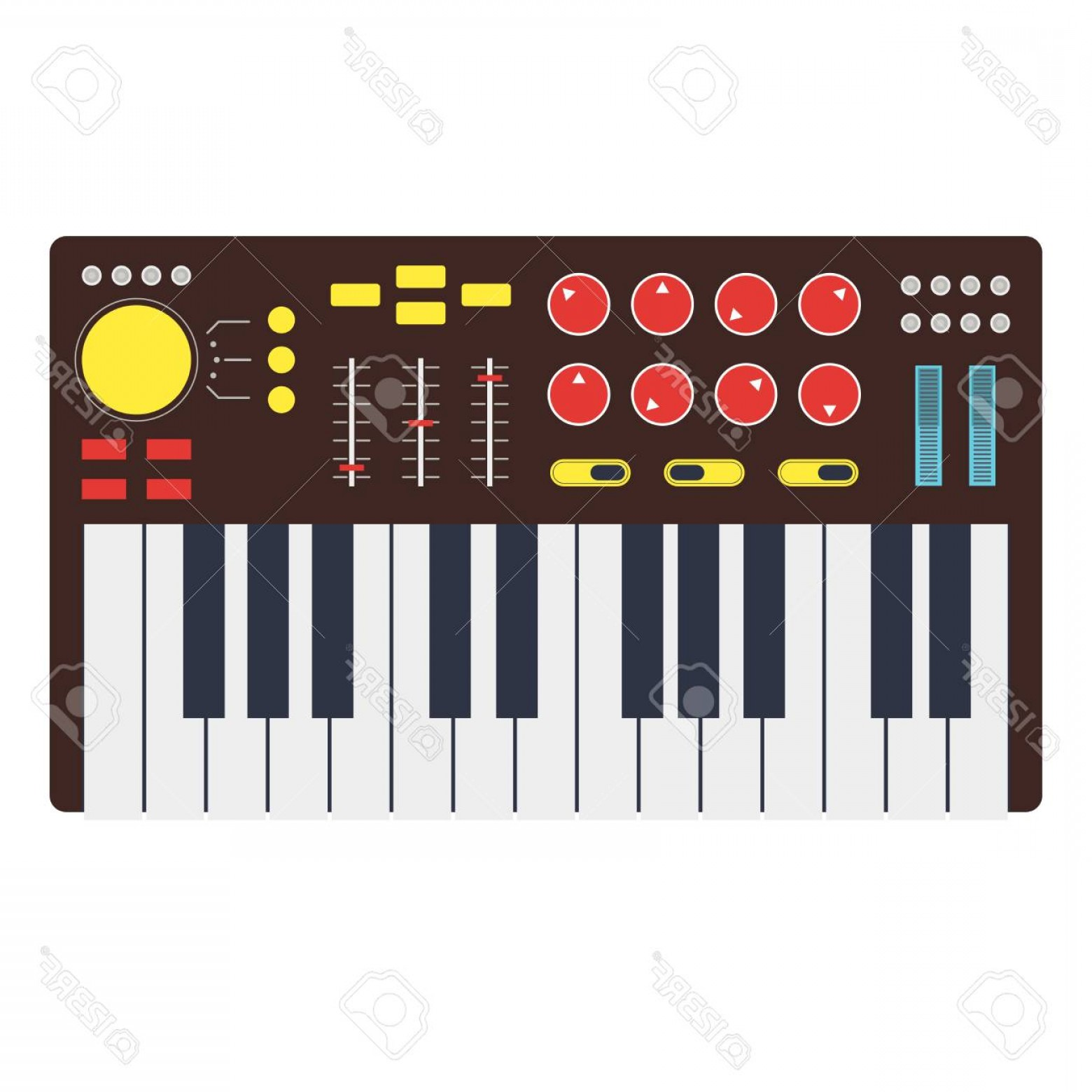 Musical Keyboard Vector: Photostock Vector Cartoon Synth Or Music Keyboard Electronic Piano Synthesizer Flat Design Style Vector Illustration