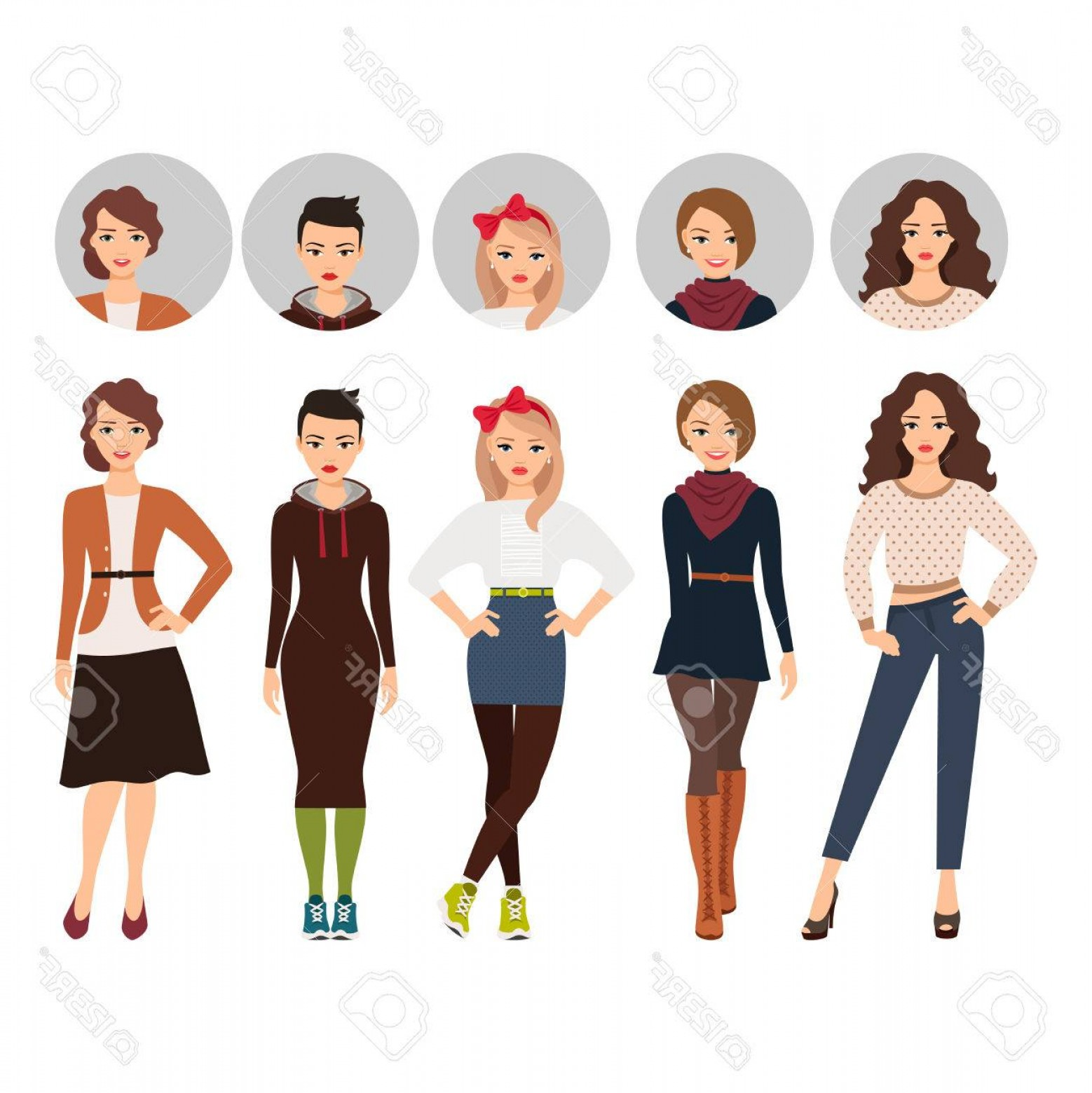 Teenage Icons Vector: Photostock Vector Cartoon Teenage Girl In Everyday Dress Vector Illustration With Face Evetar Icons Vector Set