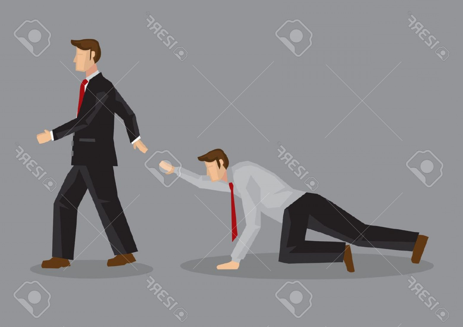 Walking Away Vector: Photostock Vector Cartoon Uncaring Businessman Walking Away From Coworker Crawling On The Floor And Calling Out For He