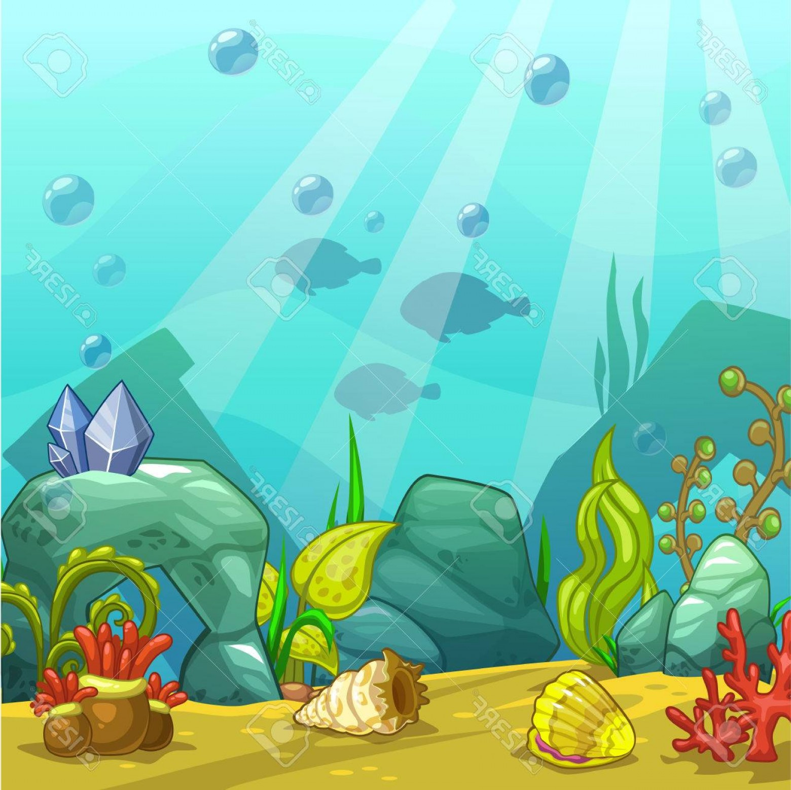 Underwater Sea Vector Art: Photostock Vector Cartoon Underwater Vector Illustration Undersea World Ocean Bottom With Sand Shells Stones And Sea W