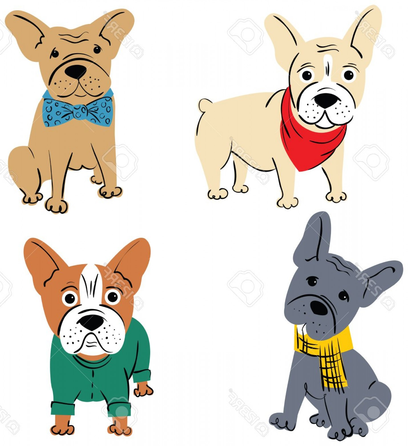 Marine Bulldog Logo In Vector: Photostock Vector Cartoon Vector Character French Bulldog Isolated On White Background Funny Puppies In Cute Clothes