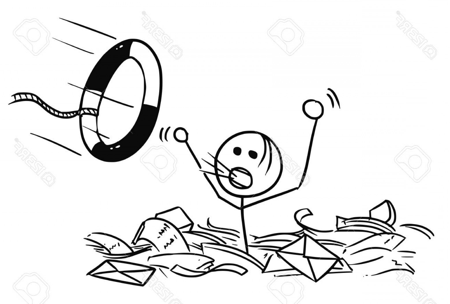 Man Drowning Vector: Photostock Vector Cartoon Vector Doodle Stickman Man Drowning In The Office Paper And Life Buoy Thrown In Paper