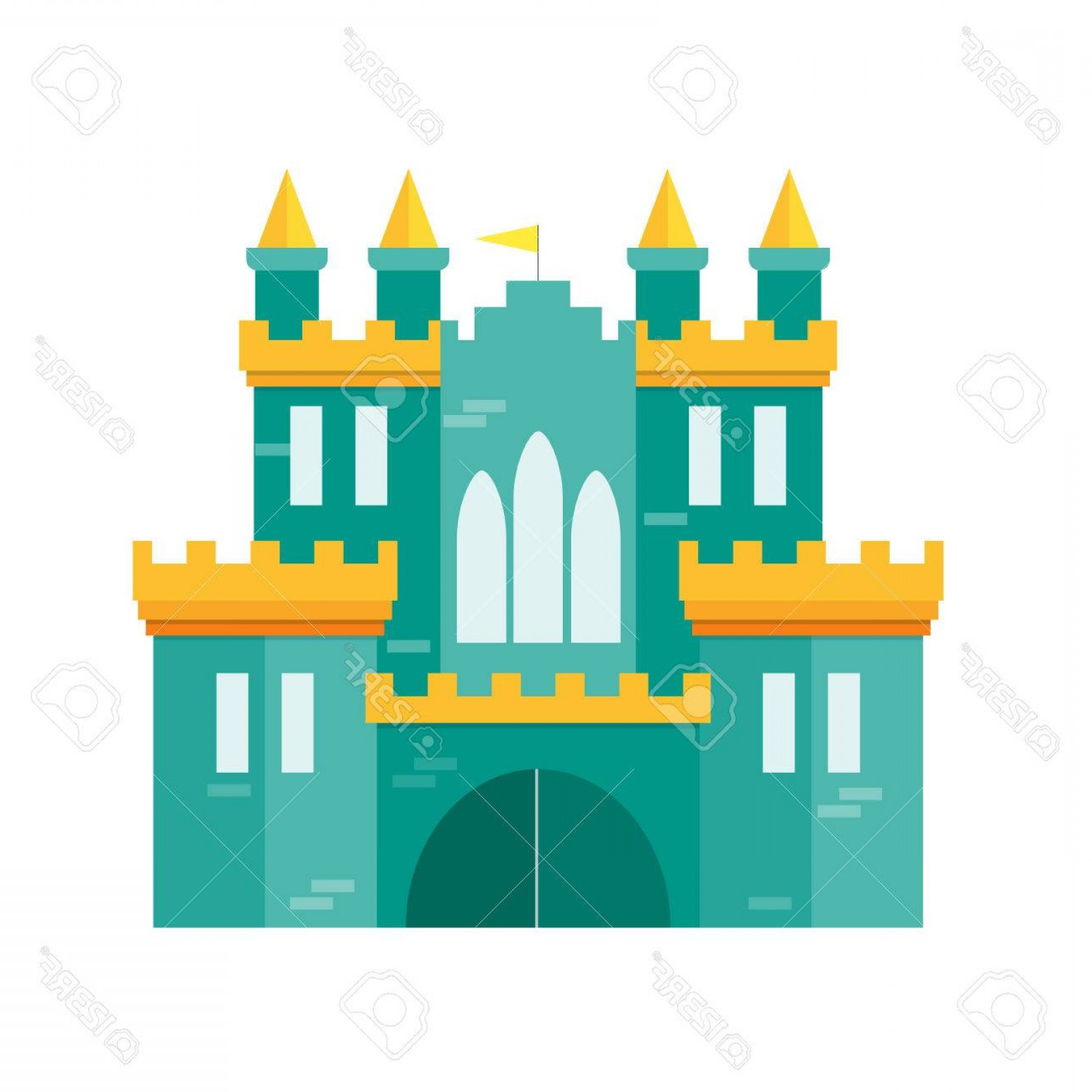 Ford Vector Art: Photostock Vector Castle Princess Flat Design Style Medieval Fortified Ford For Kingdom Vector Illustration