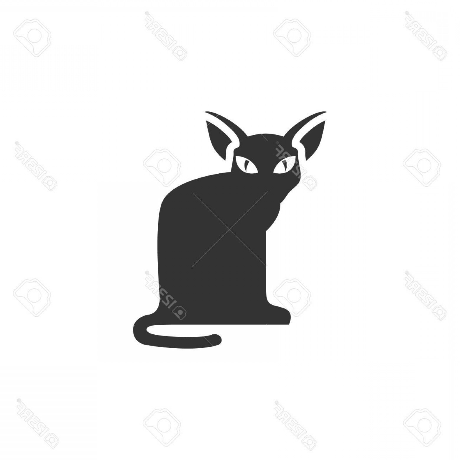 Malee Cat Head Silhouette Vector: Photostock Vector Cat Icon In Single Color Animal Halloween Symbol Dark Black Kitten Fear