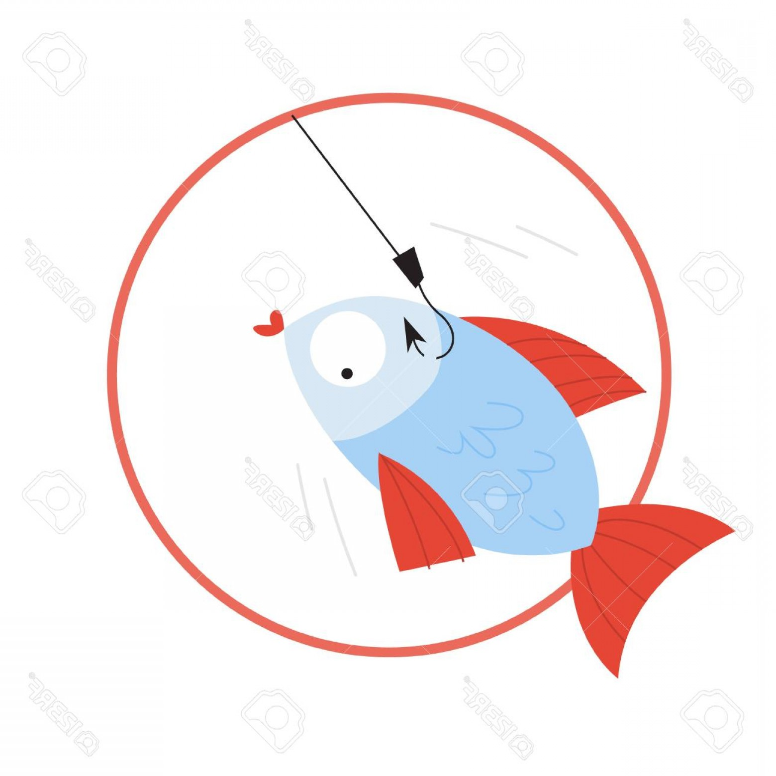 Catching Fish Hook Vector Art: Photostock Vector Catch Fish On The Hook Idea Of Fishing Hobby Underwater Animal Isolated Flat Vector Illustration