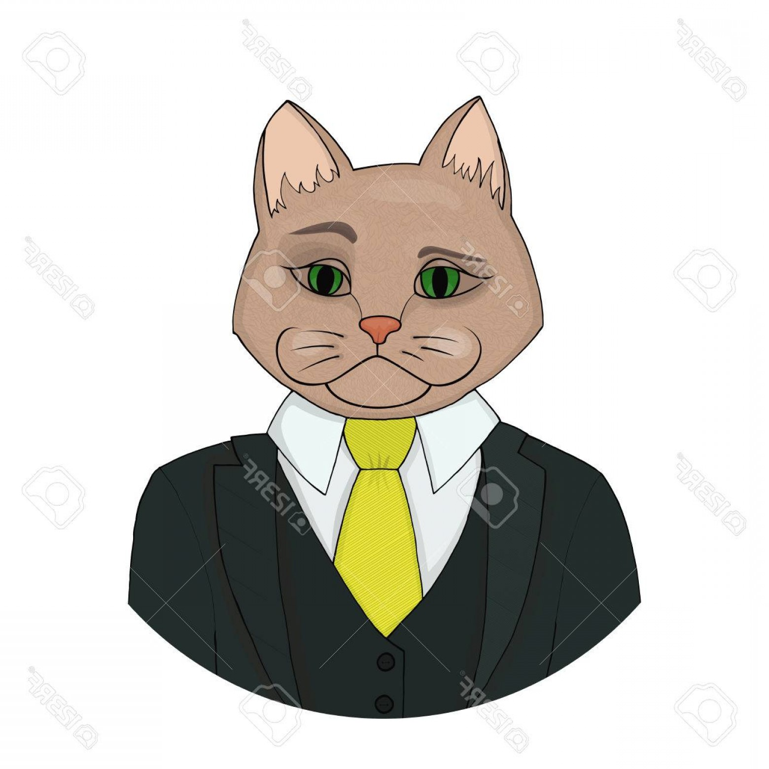 Malee Cat Head Silhouette Vector: Photostock Vector Catman Boss In A Suit With A Yellow Tie A Hybrid Of Man And Cat Vector Illustration Fashion Portrait