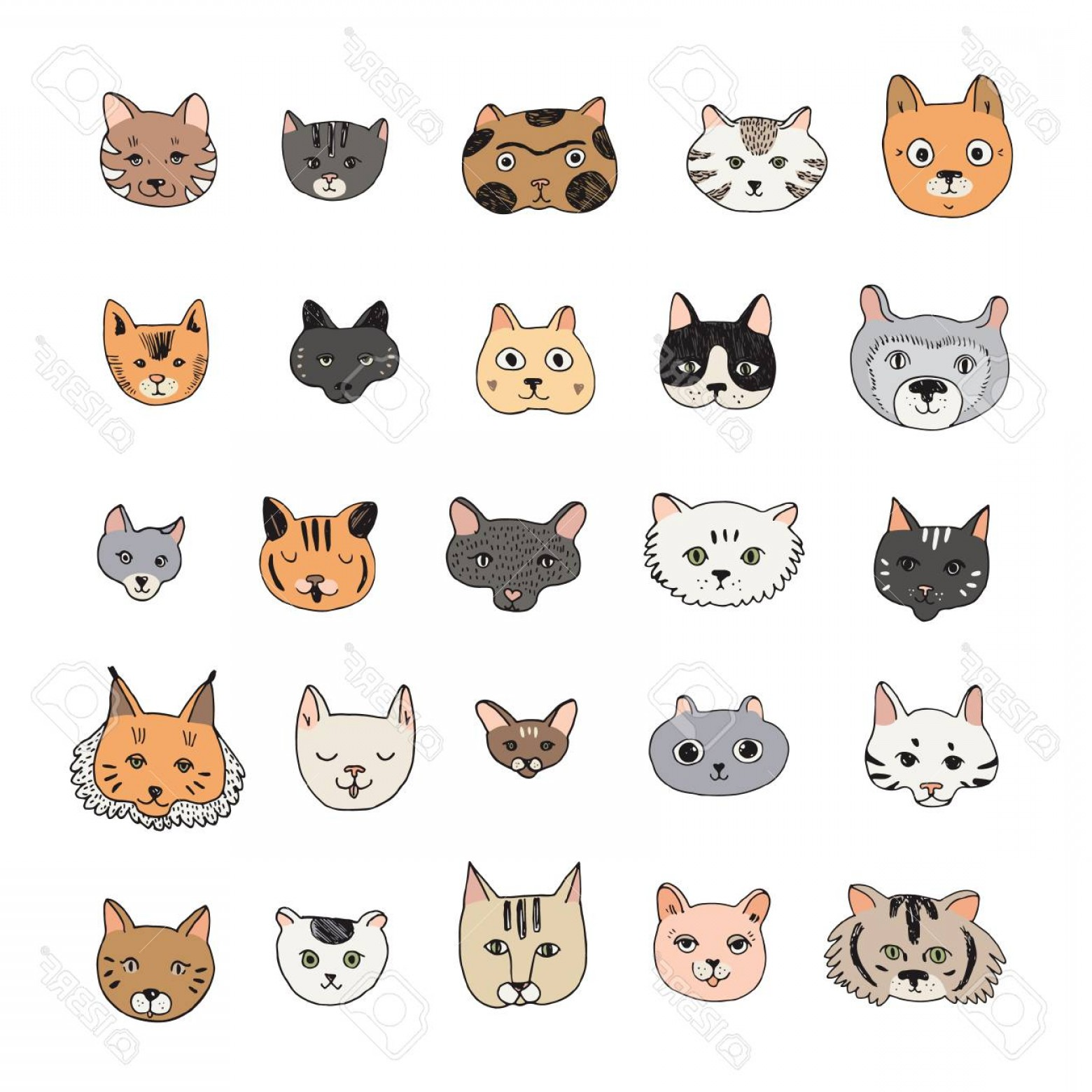 Vector Cats 3: Photostock Vector Cats Faces Cartoon Doodle Vector Illustrations Set