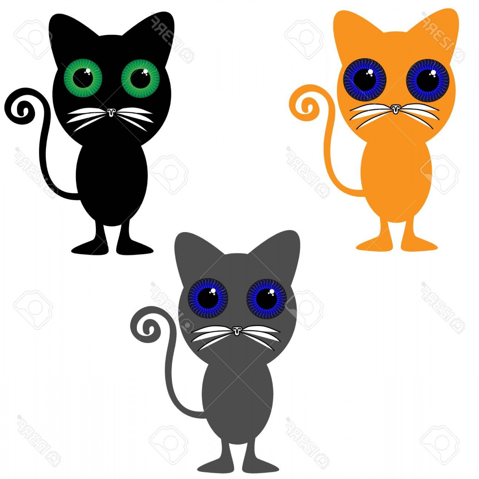 Vector Cats 3: Photostock Vector Cats On White Background Vector Illustration