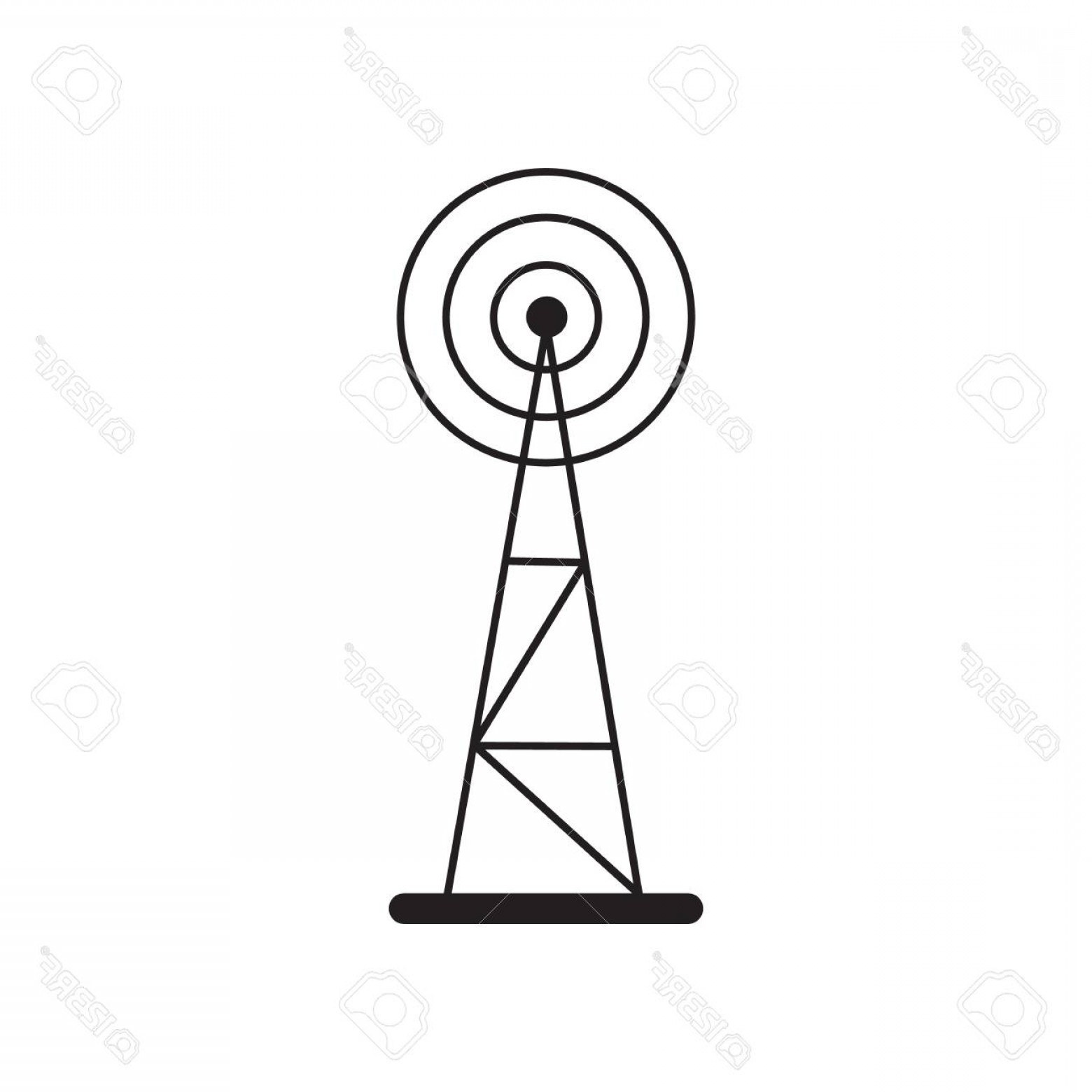 Vector Phone Tower: Photostock Vector Cell Phone Tower Icon Isolated On White Background