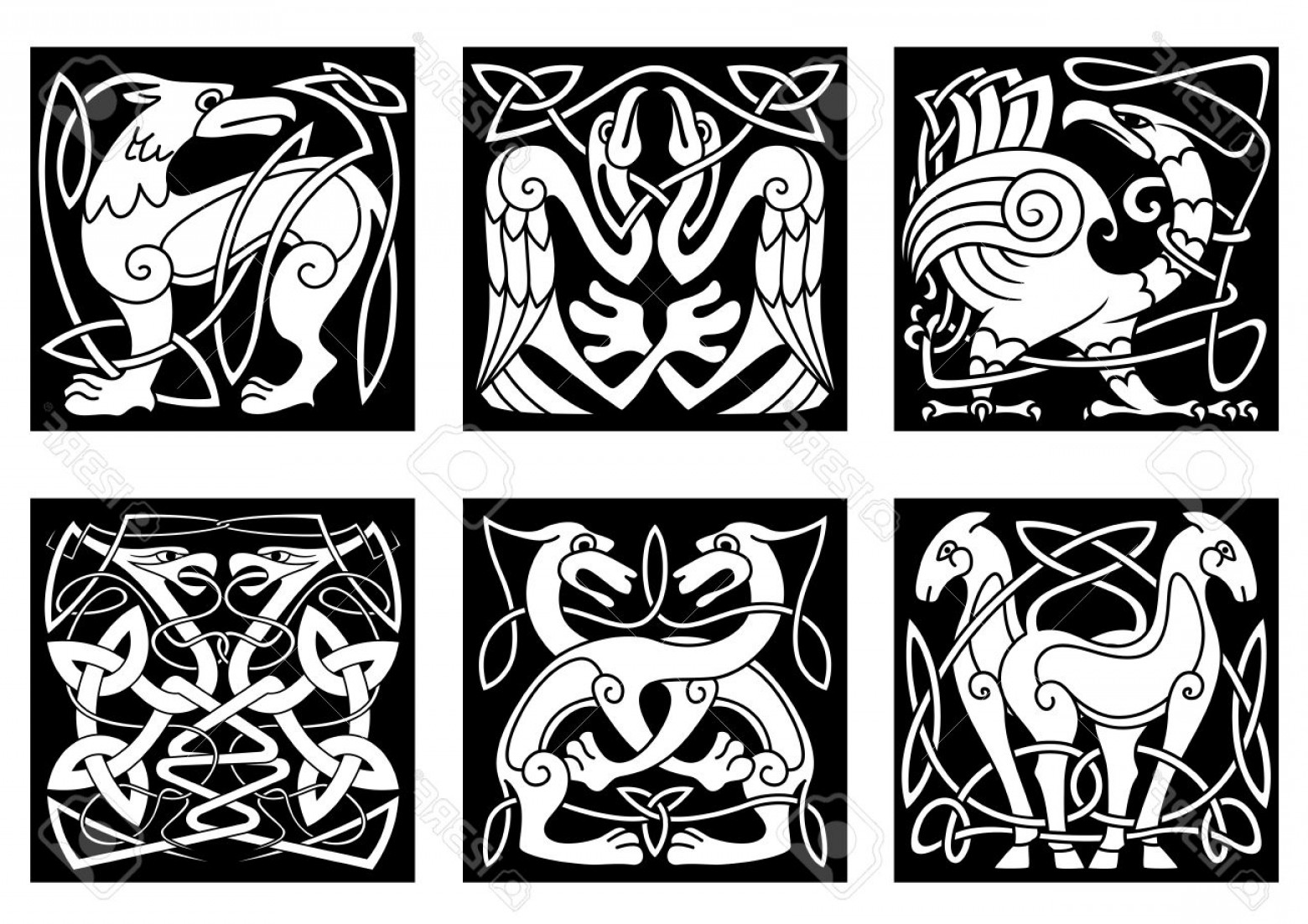 Scotland Heraldic Vector Graphic: Photostock Vector Celtic Animals And Birds With Traditional Irish Ornament On Black Background For Tattoo Or Heraldry
