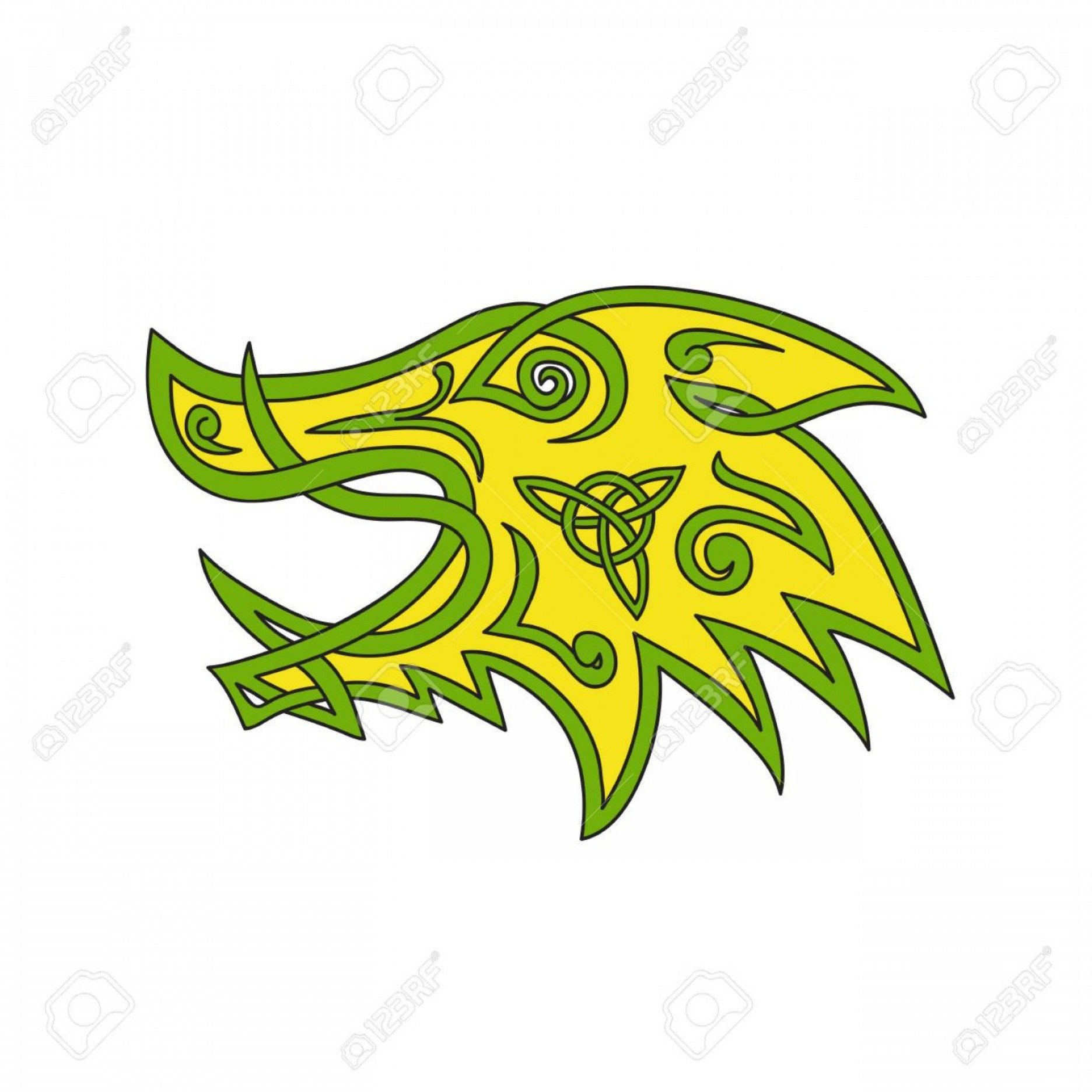 Razorback Vector Mandala: Photostock Vector Celtic Knot Stylized Illustration Of A Wild Boar Wild Pig Hog Or Razorback Head Viewed From Side Don