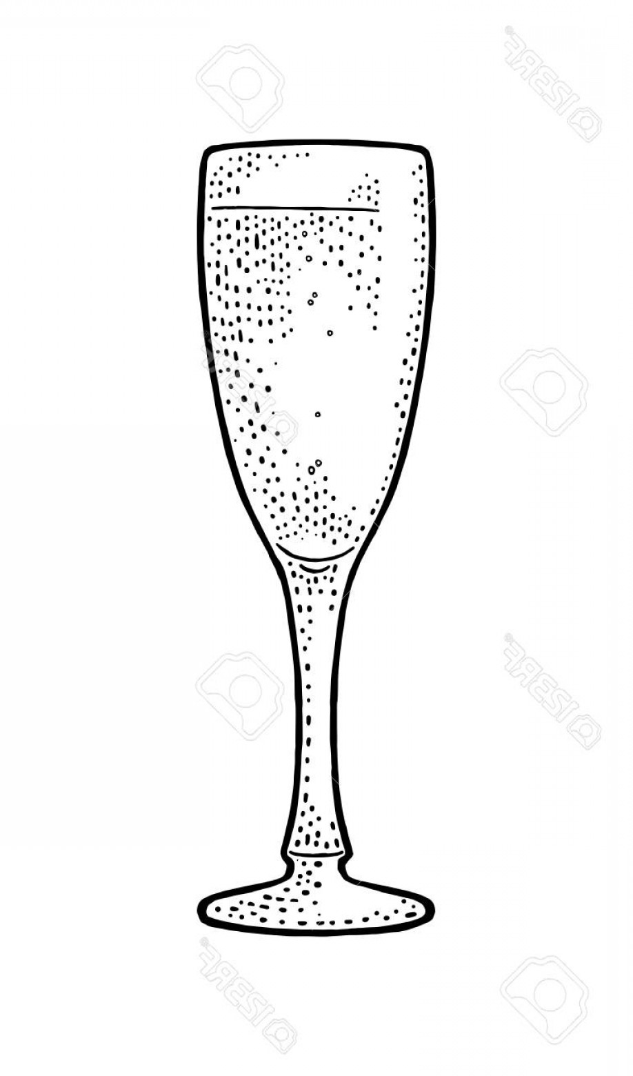Vector Champagne Party: Photostock Vector Champagne Glass Vintage Vector Engraving Illustration For Web Poster Invitation To Party Hand Drawn
