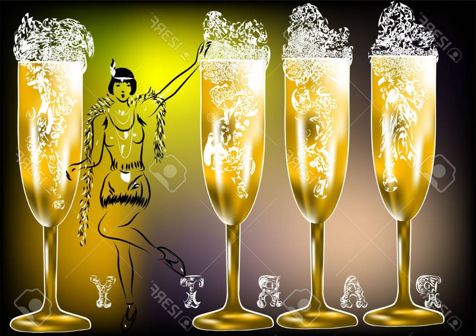 Vector Champagne Party: Photostock Vector Champagne Party Twenties Silhouette Of Woman And Glasses