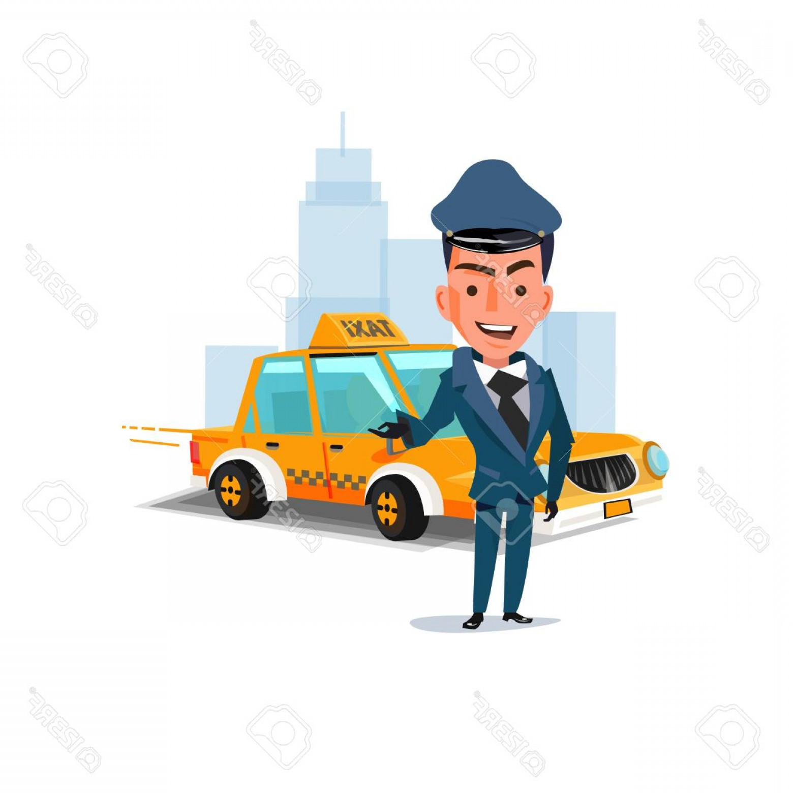 Chauffer Driver Cap Vector: Photostock Vector Chauffeur With His Taxi Car Character Design Taxi Service Concept Vector Illustration