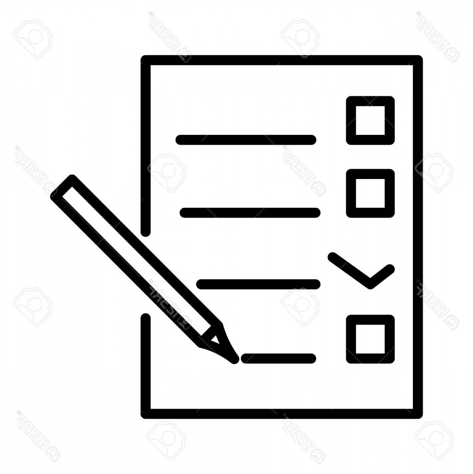 Paper And Pencil Icon Vector: Photostock Vector Checklist Document With Pencil Vector Notepad Paper Document Icon Flat Line Office Doc Icon Vector I