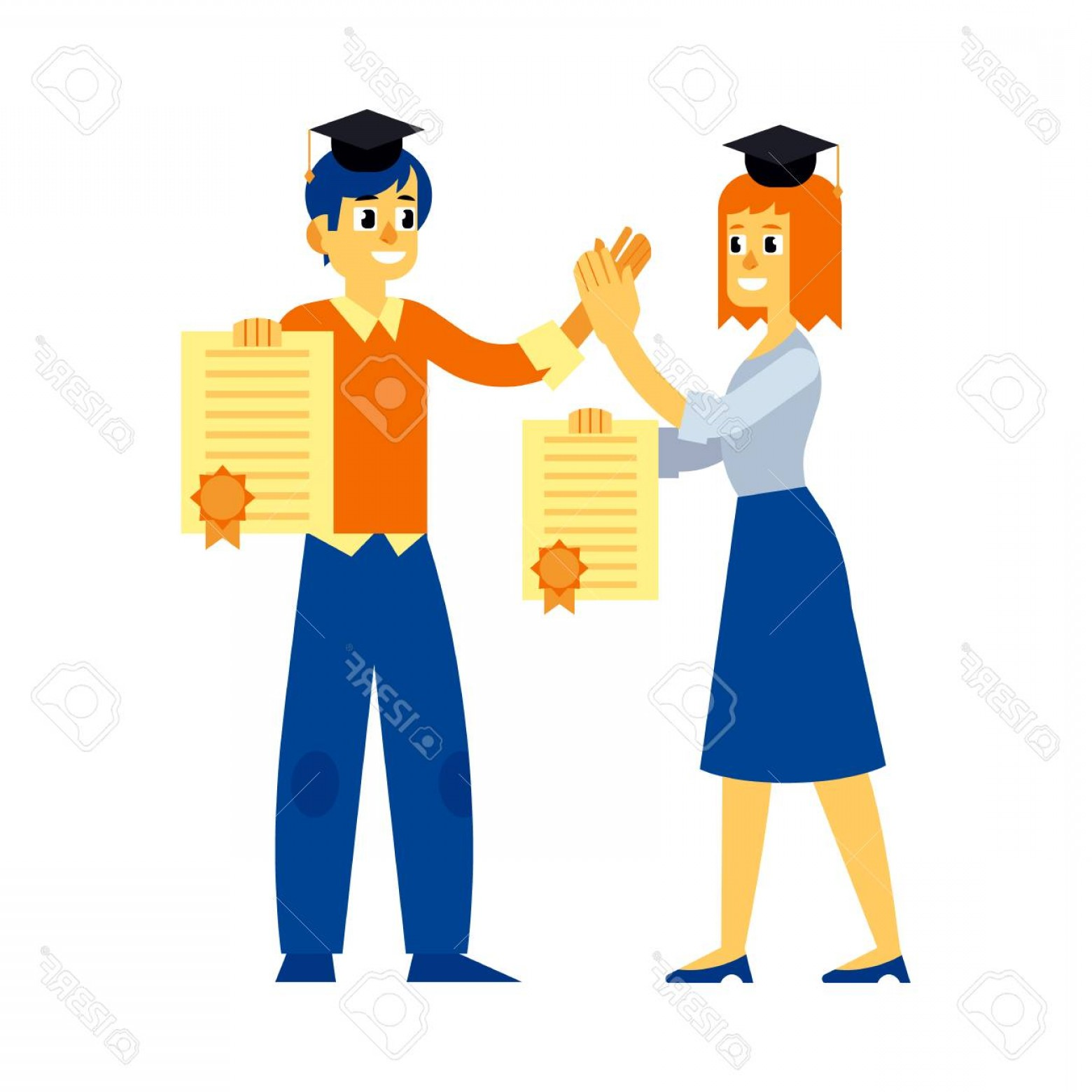 Standing Diploma Vector: Photostock Vector Cheerful Students Graduate Woman And Man Standing Holding Diploma Graduation In Hands Giving High Fi