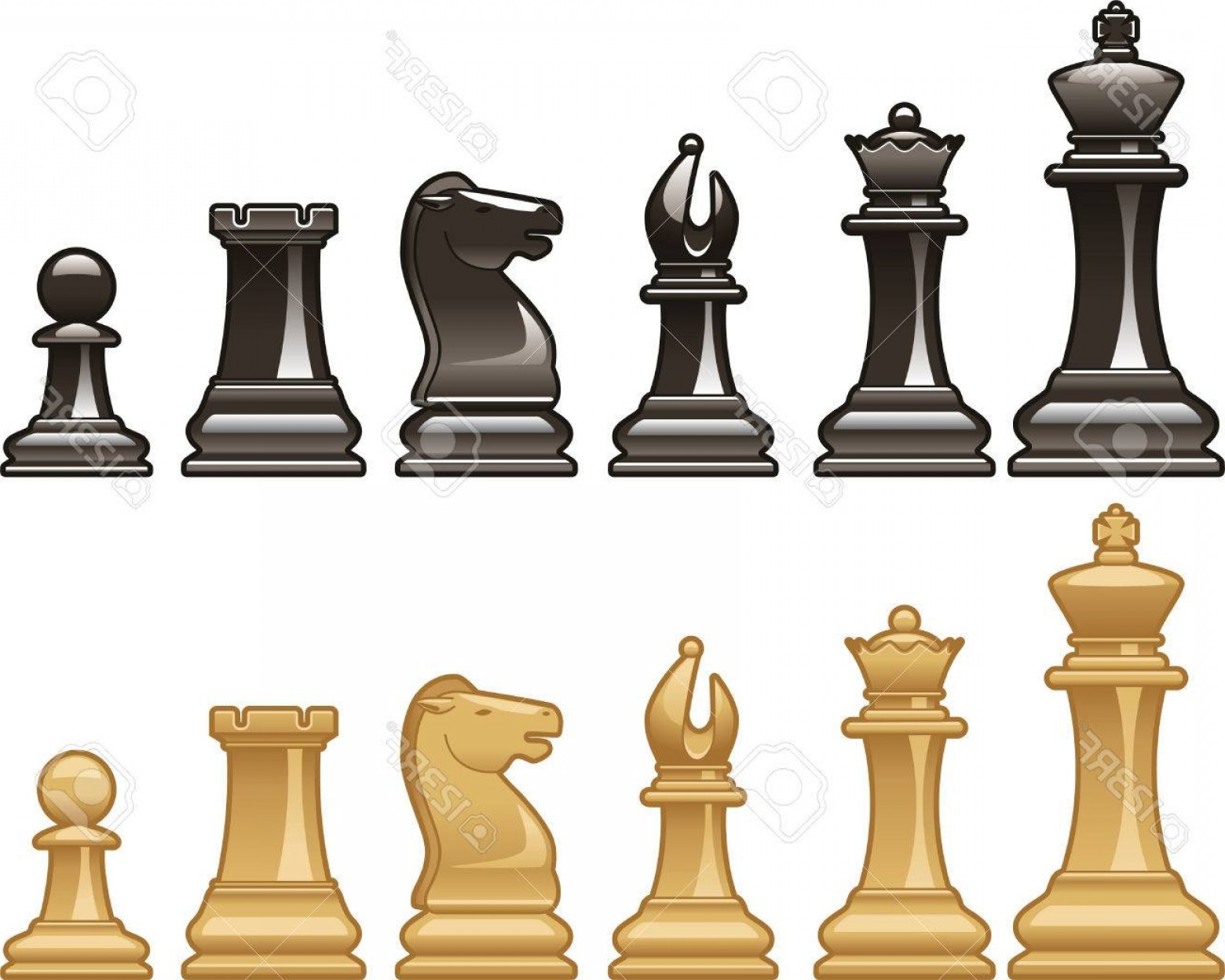 Vector Chess Board: Photostock Vector Chess Pieces In Black And White Vector Illustrations