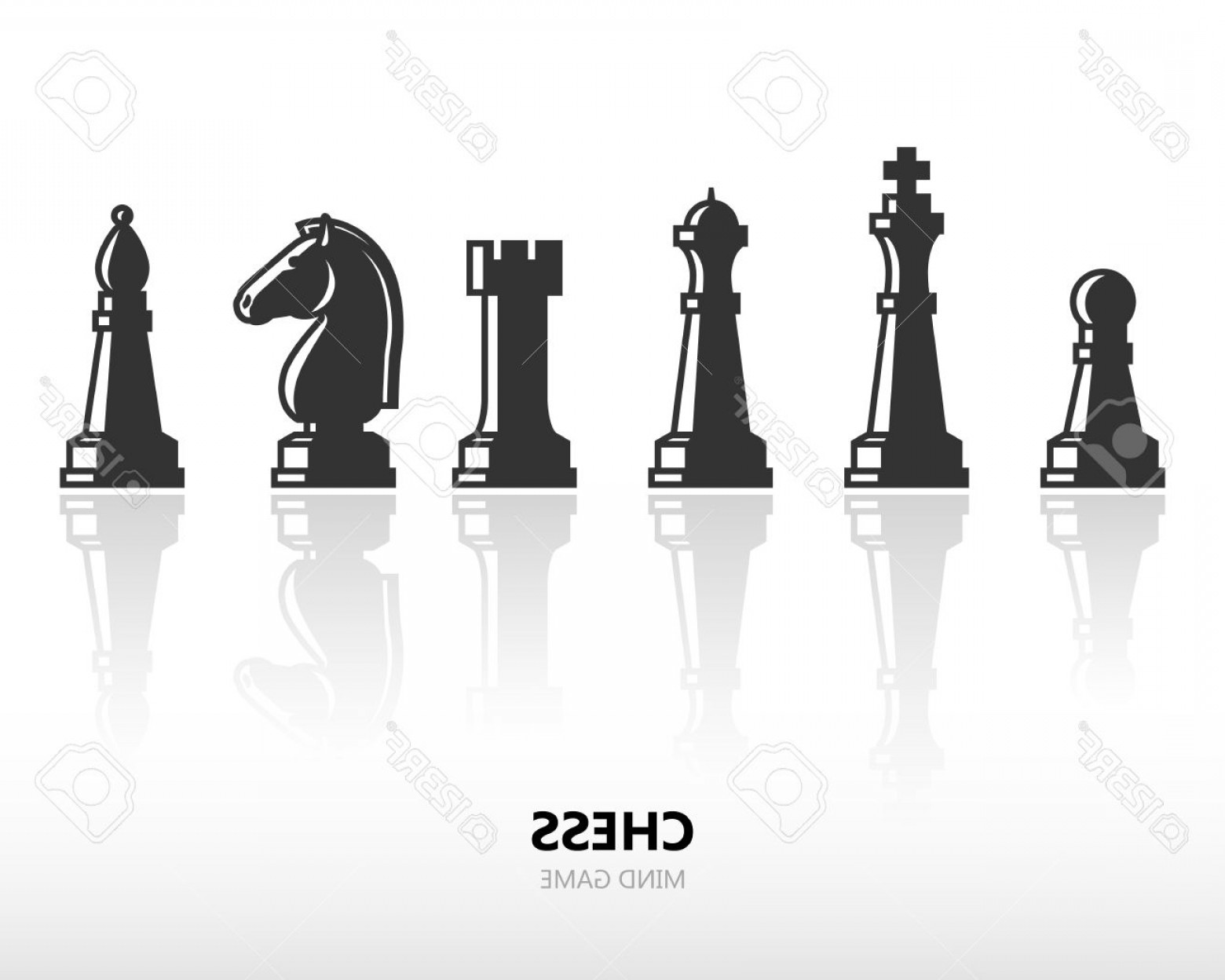 Vector Chess Board: Photostock Vector Chess Pieces Or Chess Figures Vector Silhouette Icon Set With Reflection