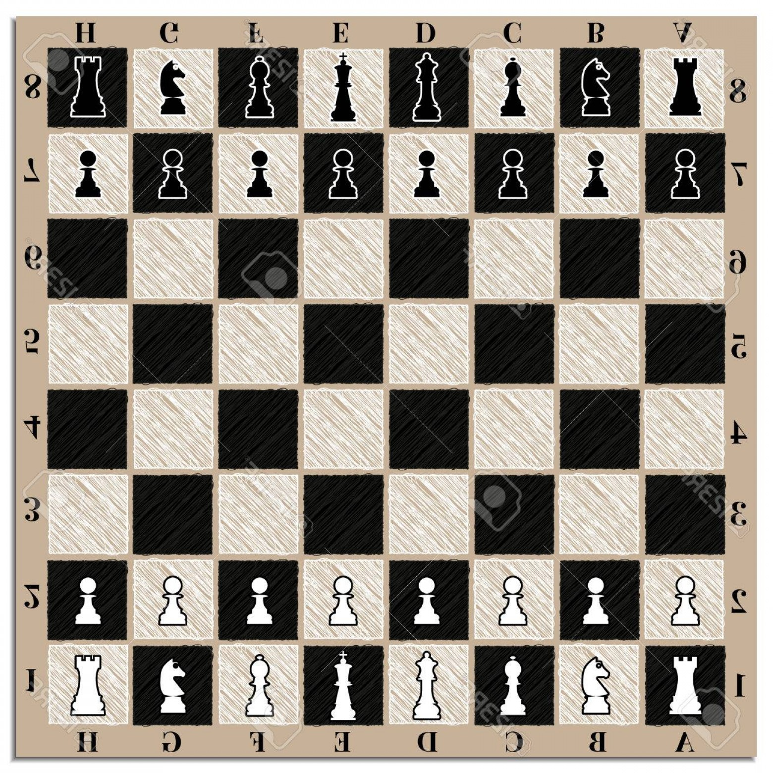 Vector Chess Board: Photostock Vector Chessboard With Chess Figures And Marking Vector Illustration