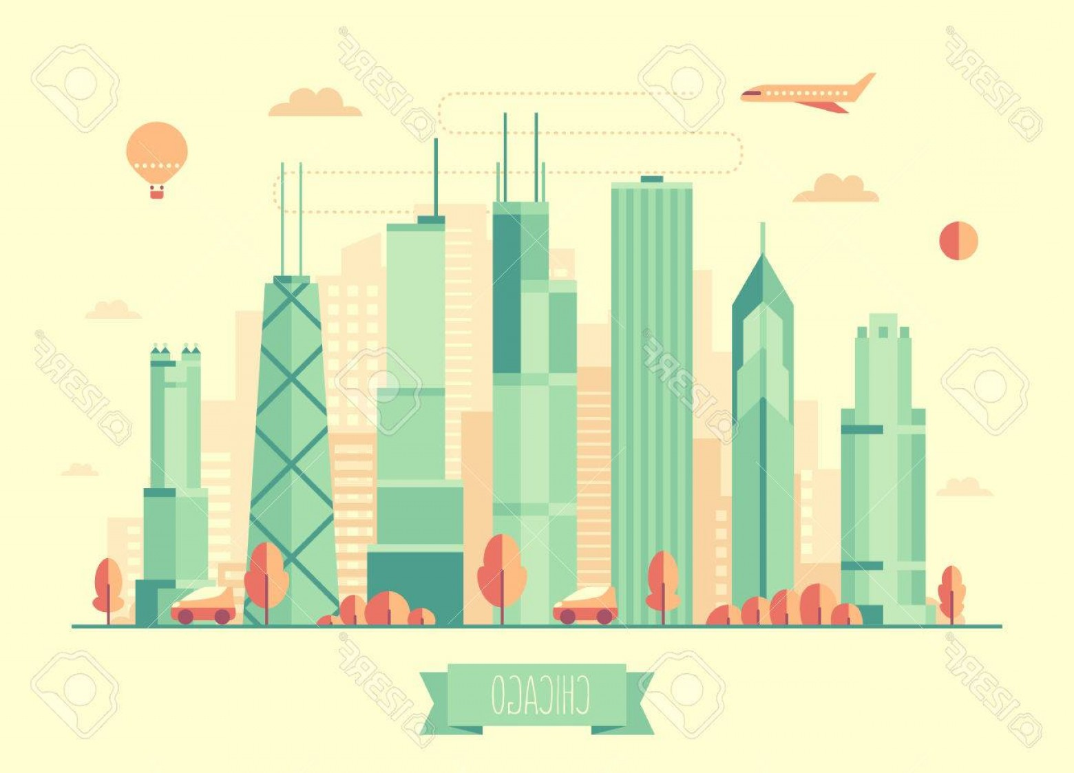Cars Skyline Vector: Photostock Vector Chicago Skyline Architecture Vector Illustration With Plane Cars And Air Balloon Flat Design