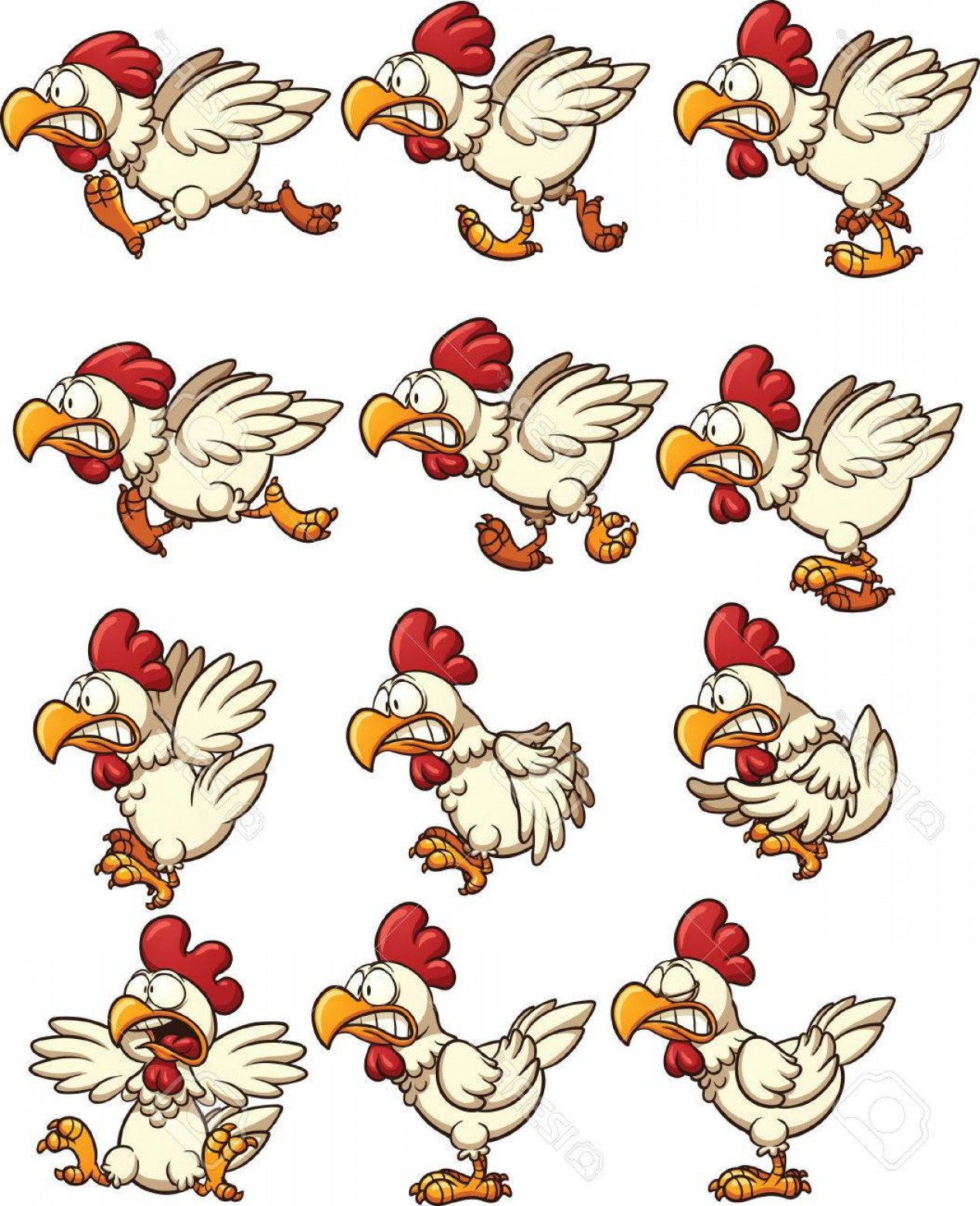 Vector Sprites: Photostock Vector Chicken Sprites With Running Idle And Flying Animations Vector Clip Art Illustration With Simple Gra