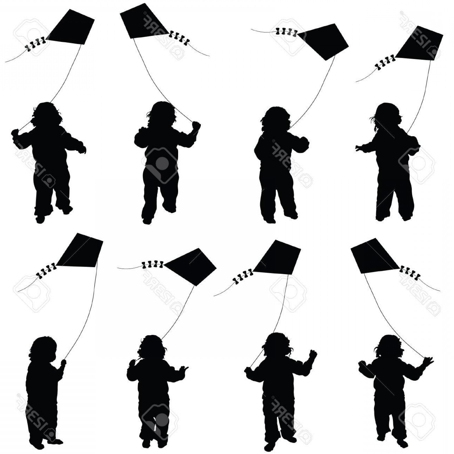 Color Guard Silhouette Vector: Photostock Vector Child Set Plying With Dragon Illustration In Black Color