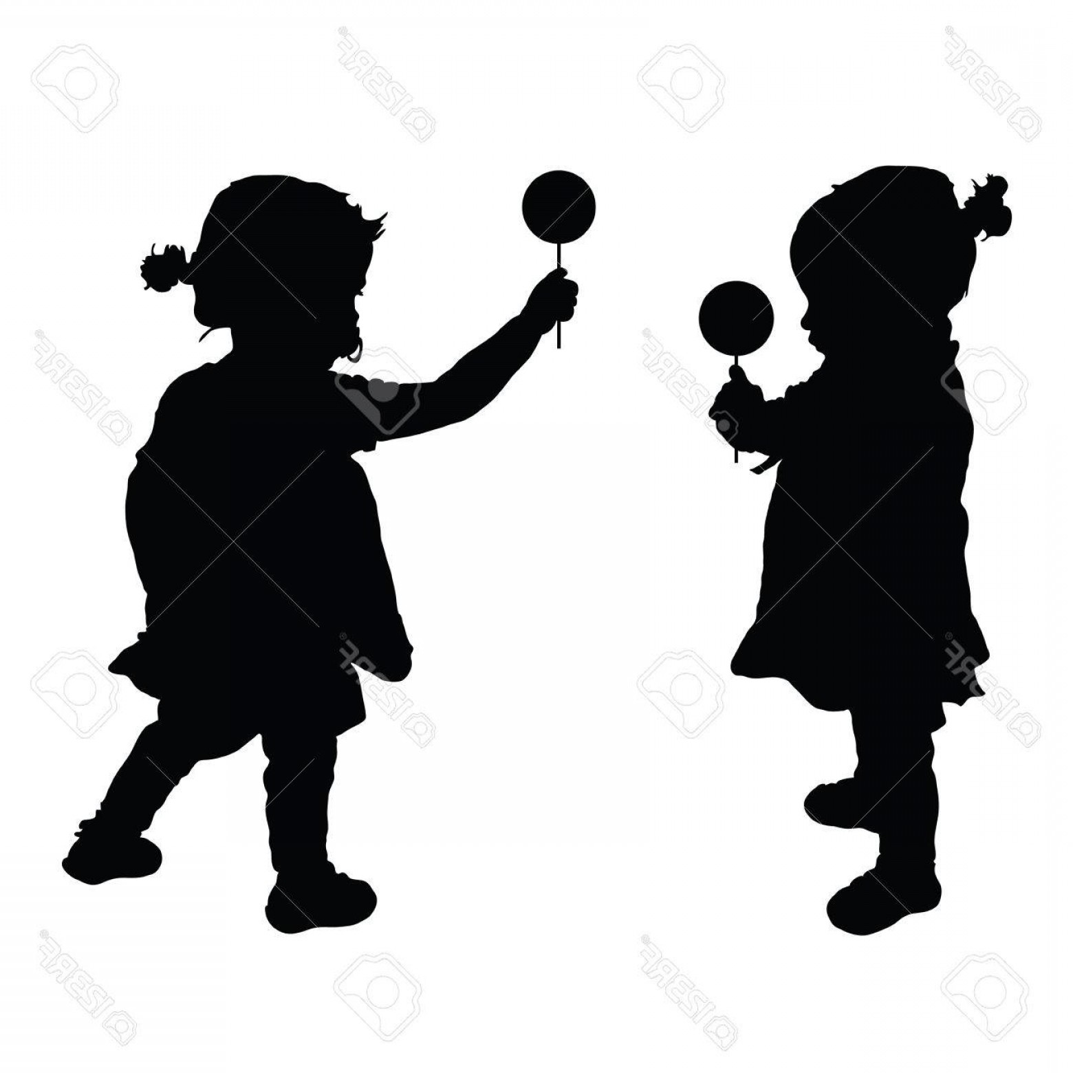 Lollipop Vector Silhouette: Photostock Vector Child Set With Lollipop Silhouette Illustration