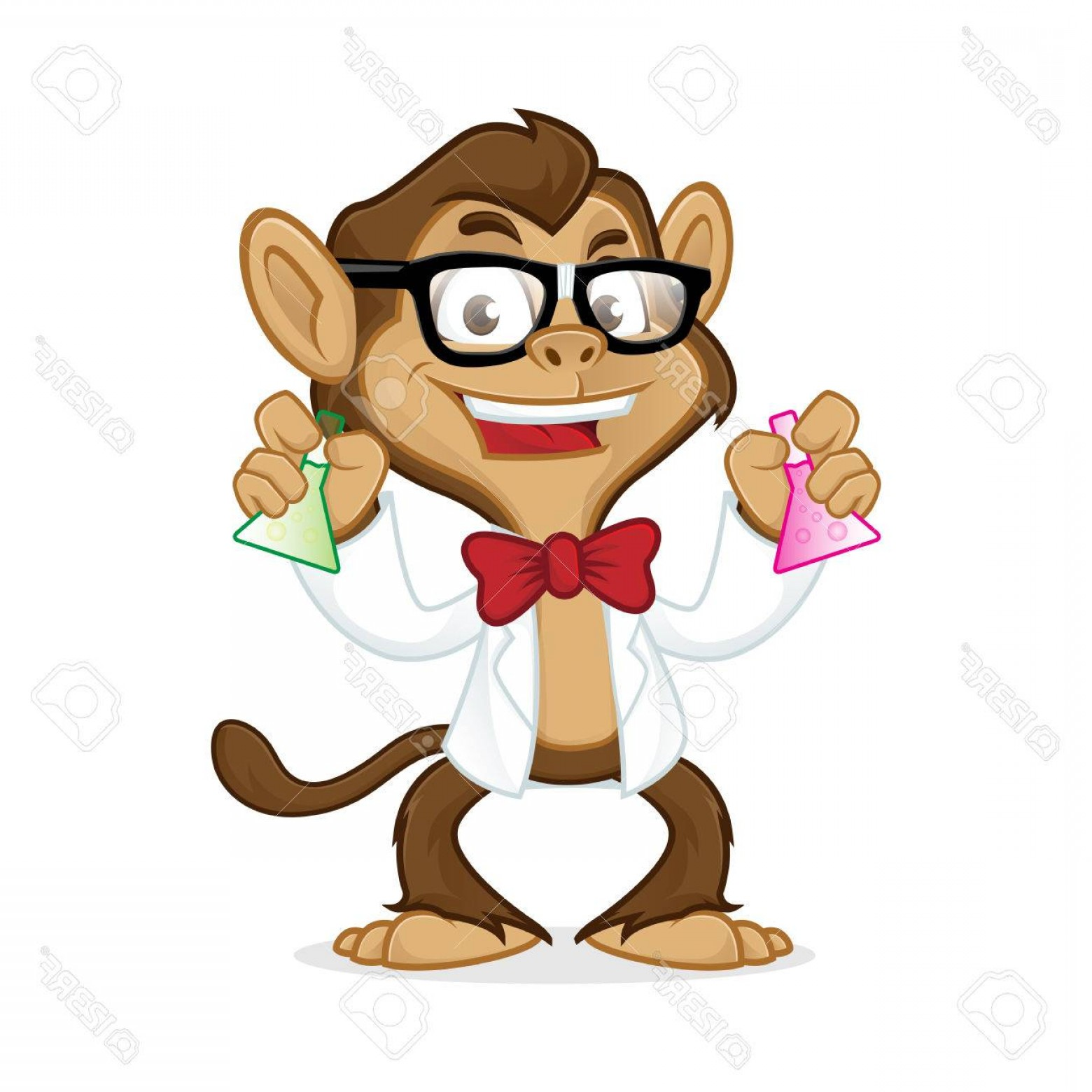 Lab Coat Cartoon Vector: Photostock Vector Chimp Cartoon Mascot Wearing Lab Coat And Glasses Isolated In White Background